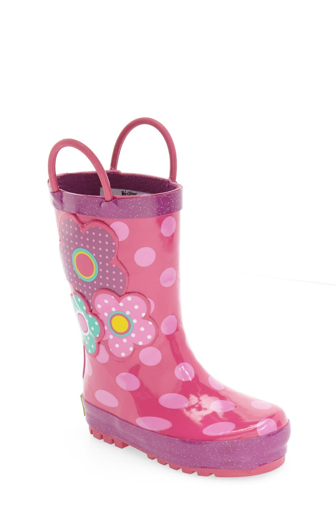 'Flower Cutie' Rain Boot,                             Main thumbnail 1, color,                             PINK