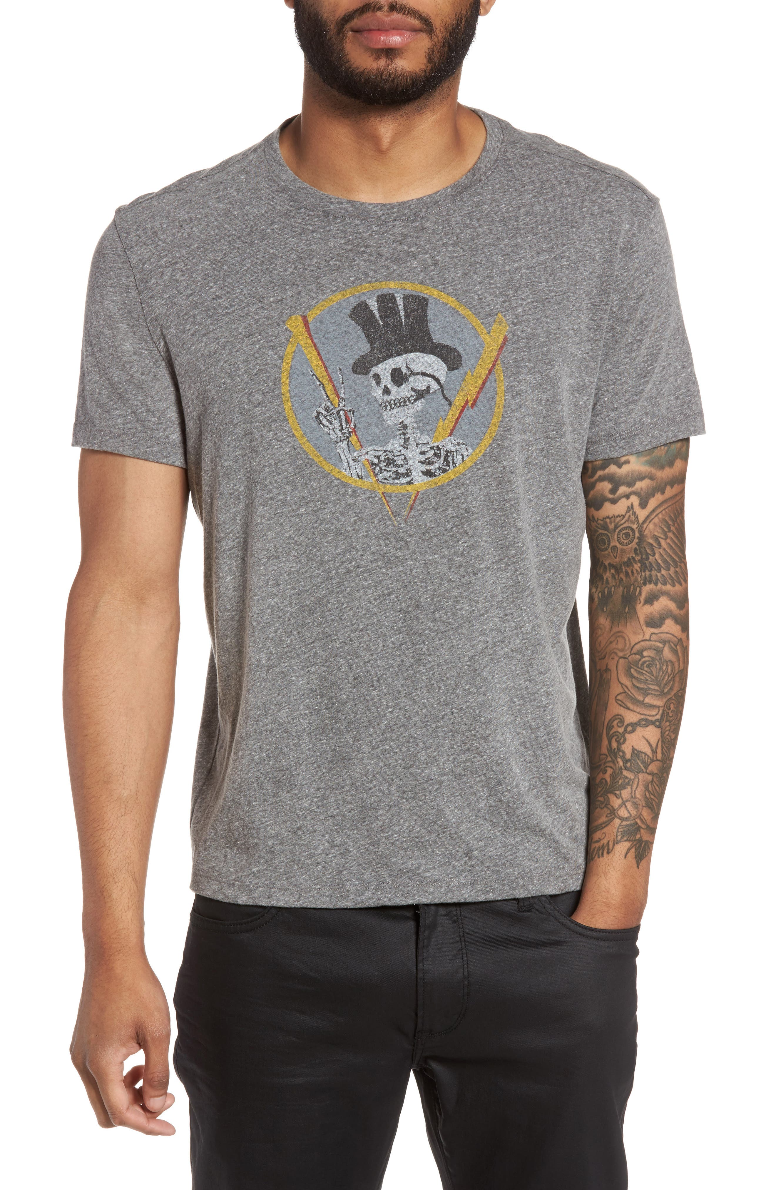 Top Hat Skull Graphic T-Shirt,                         Main,                         color, 073
