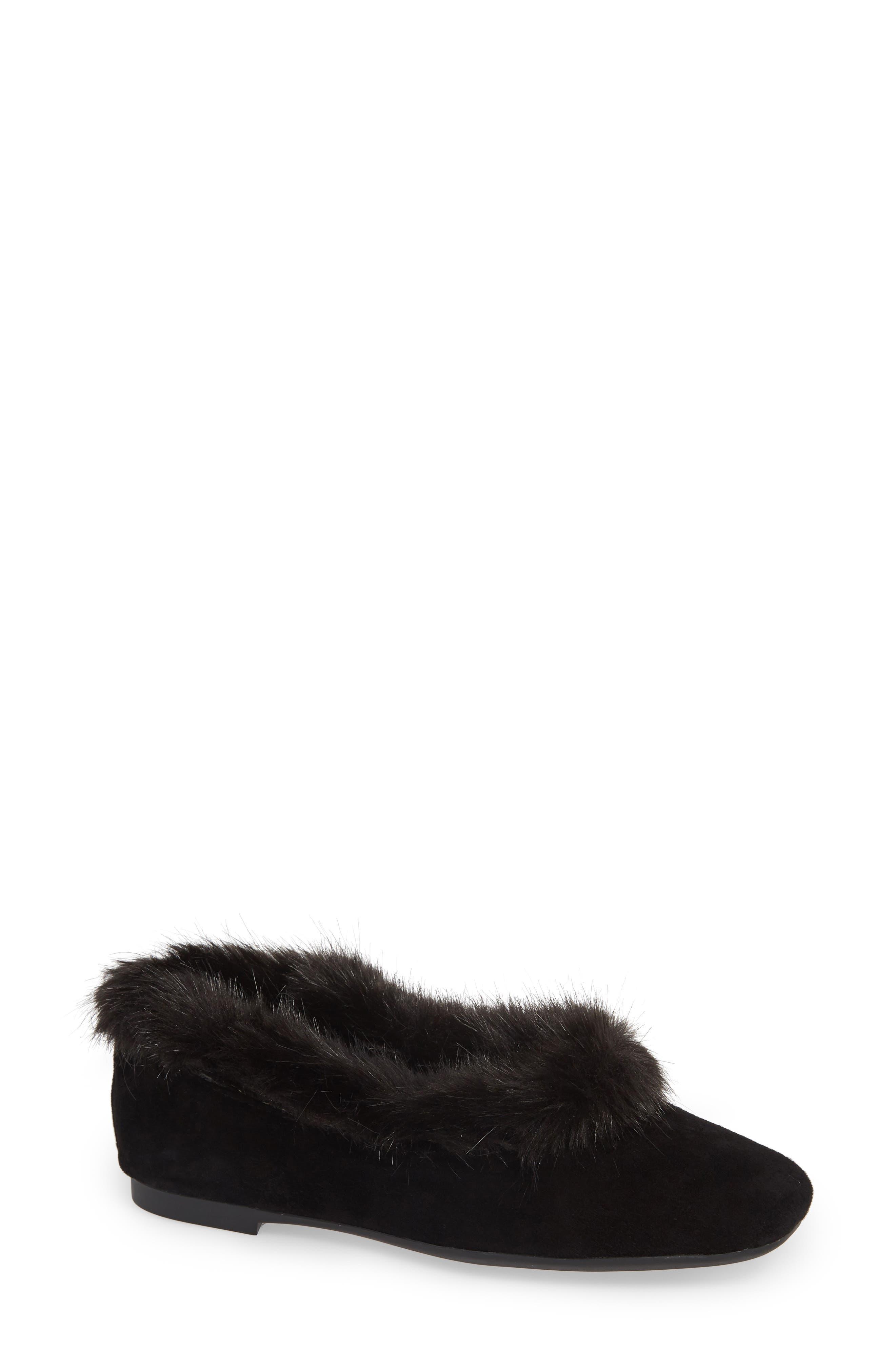 TARYN ROSE Ryanne Water Resistant Faux Fur Flat in Black Suede