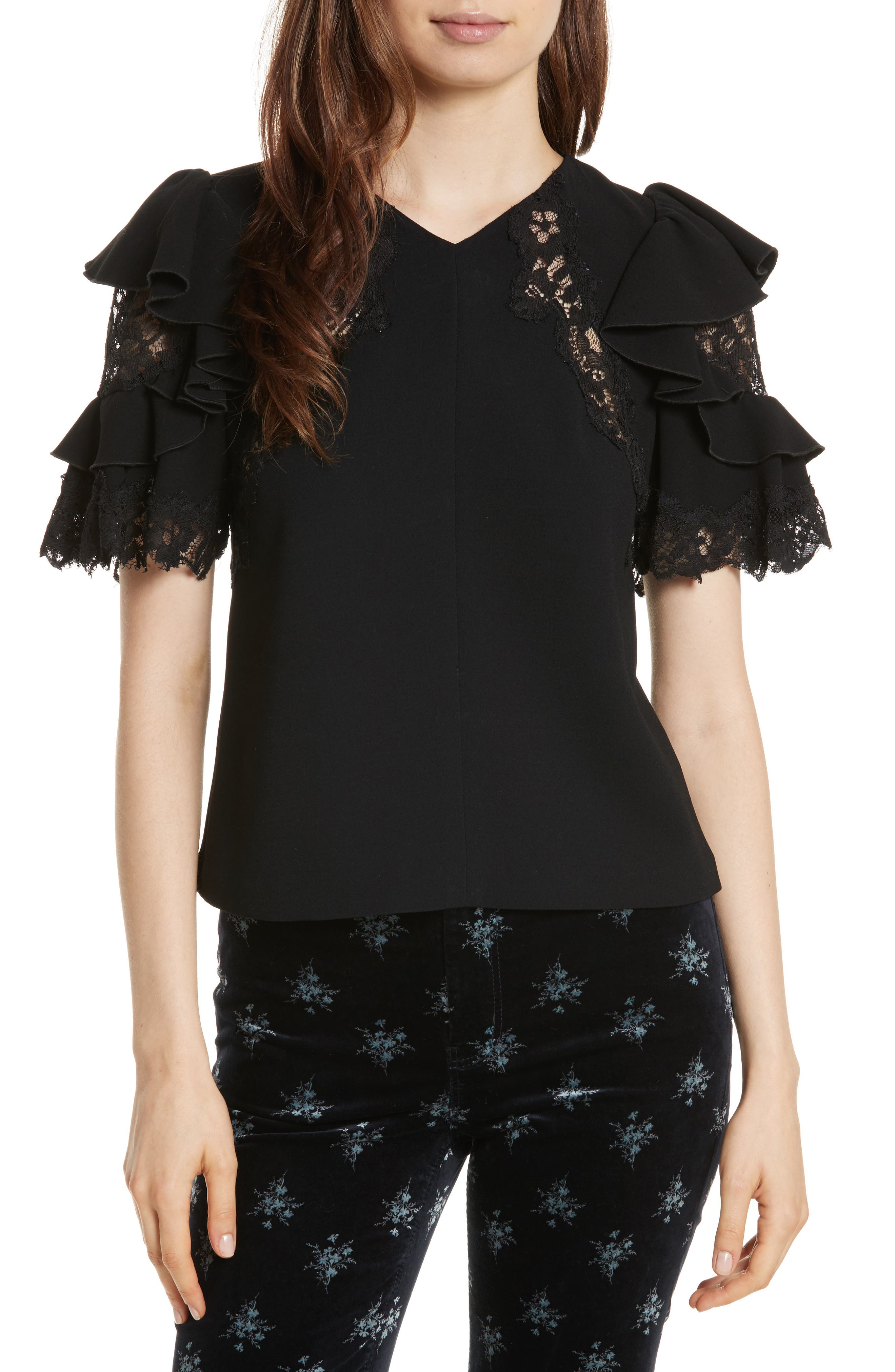Lace & Crepe Flutter Sleeve Top,                             Main thumbnail 1, color,                             001