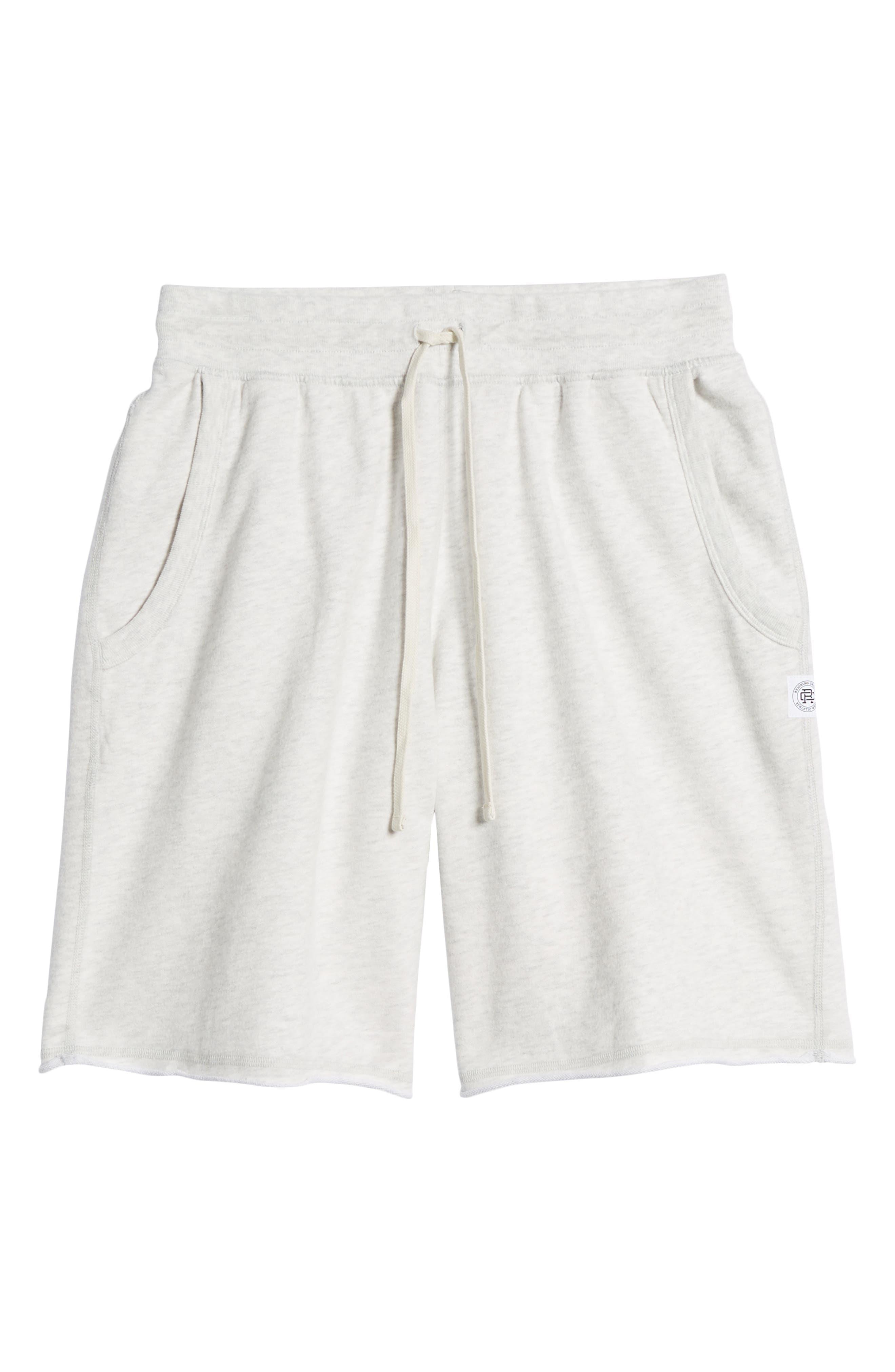 Raw Edge Drawstring Shorts,                             Alternate thumbnail 6, color,                             100
