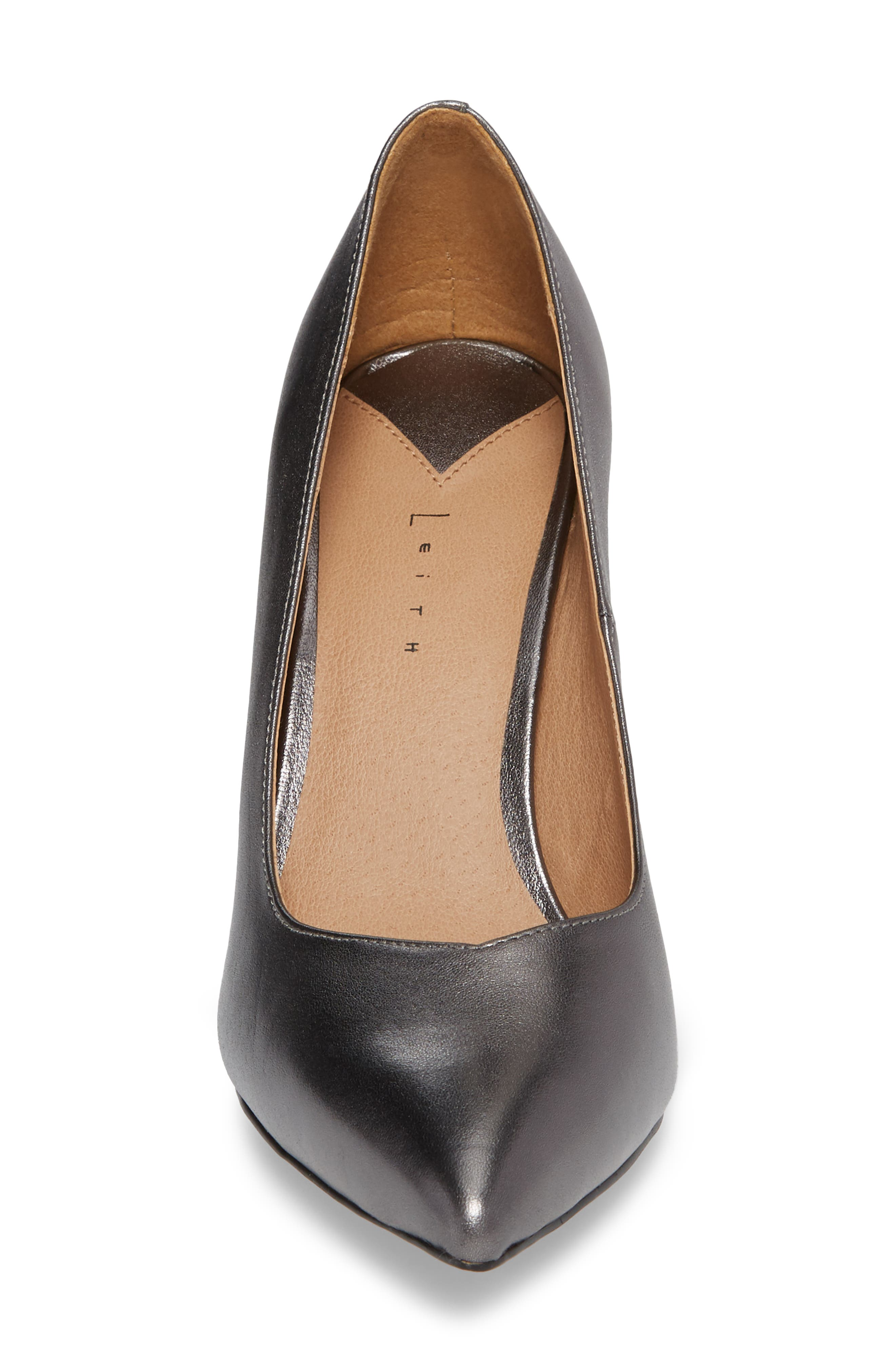 Palma Pointy Toe Pump,                             Alternate thumbnail 4, color,                             GUNMETAL LEATHER