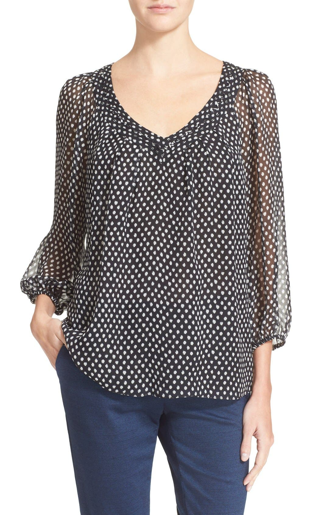 'Davi' Silk Peasant Top,                         Main,                         color, 002