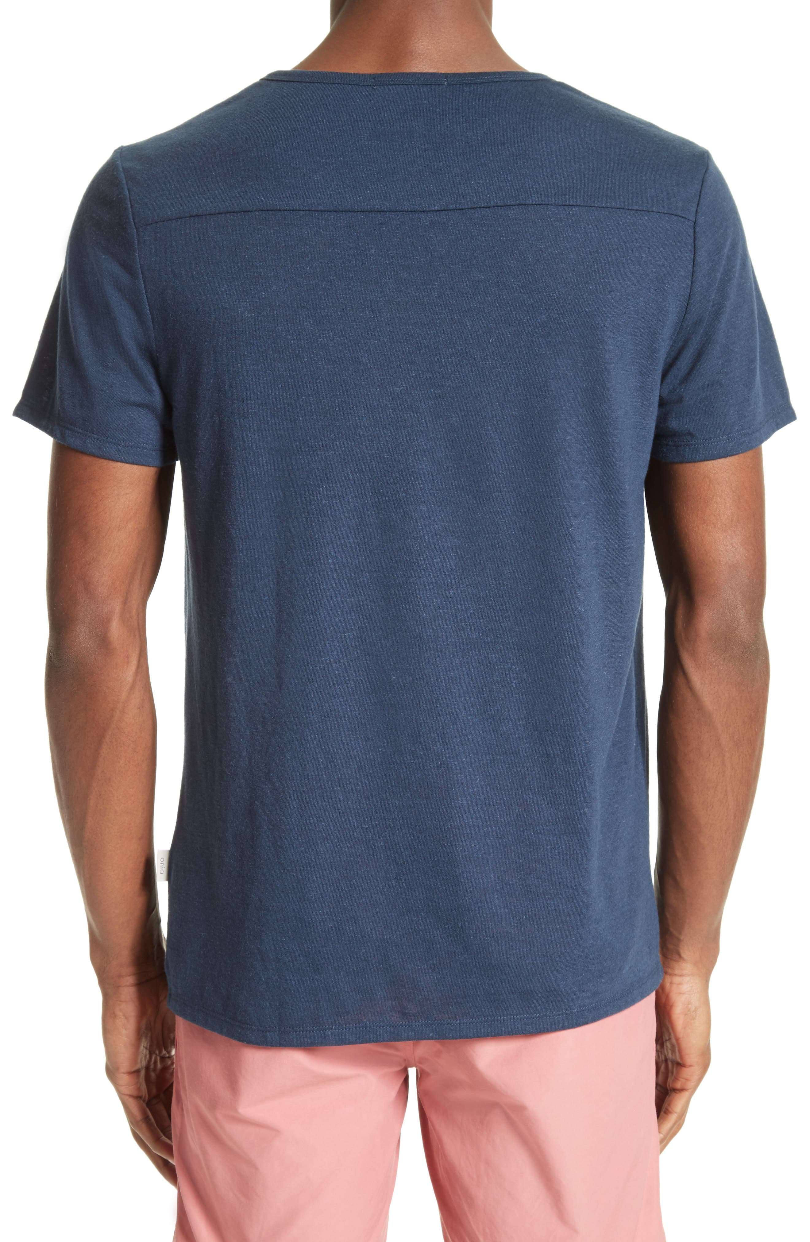 Chad Linen Blend Pocket T-Shirt,                             Alternate thumbnail 2, color,                             DEEP NAVY
