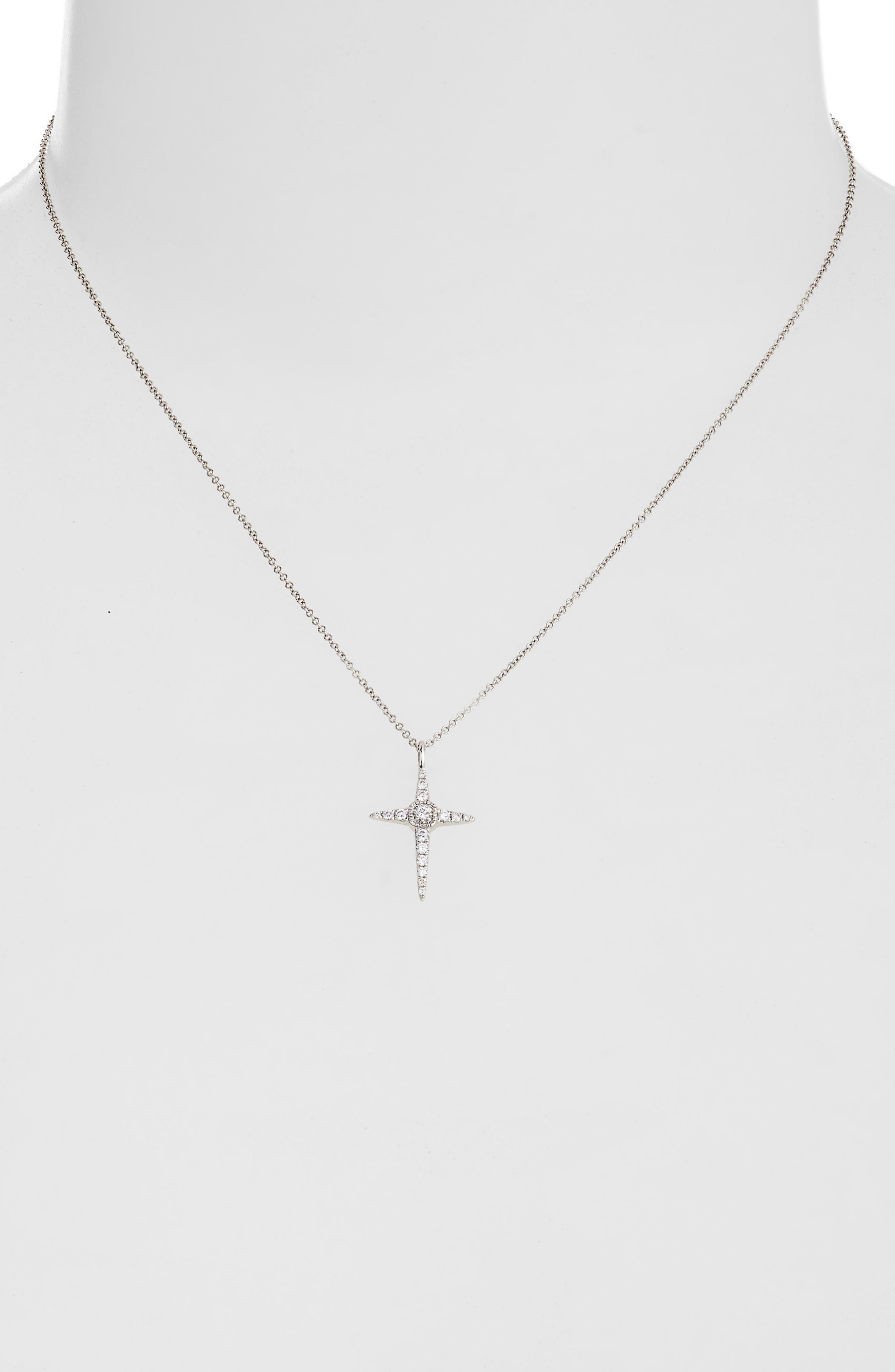 Diamond Cross Pendant Necklace,                             Alternate thumbnail 2, color,                             WHITE GOLD/ DIAMOND