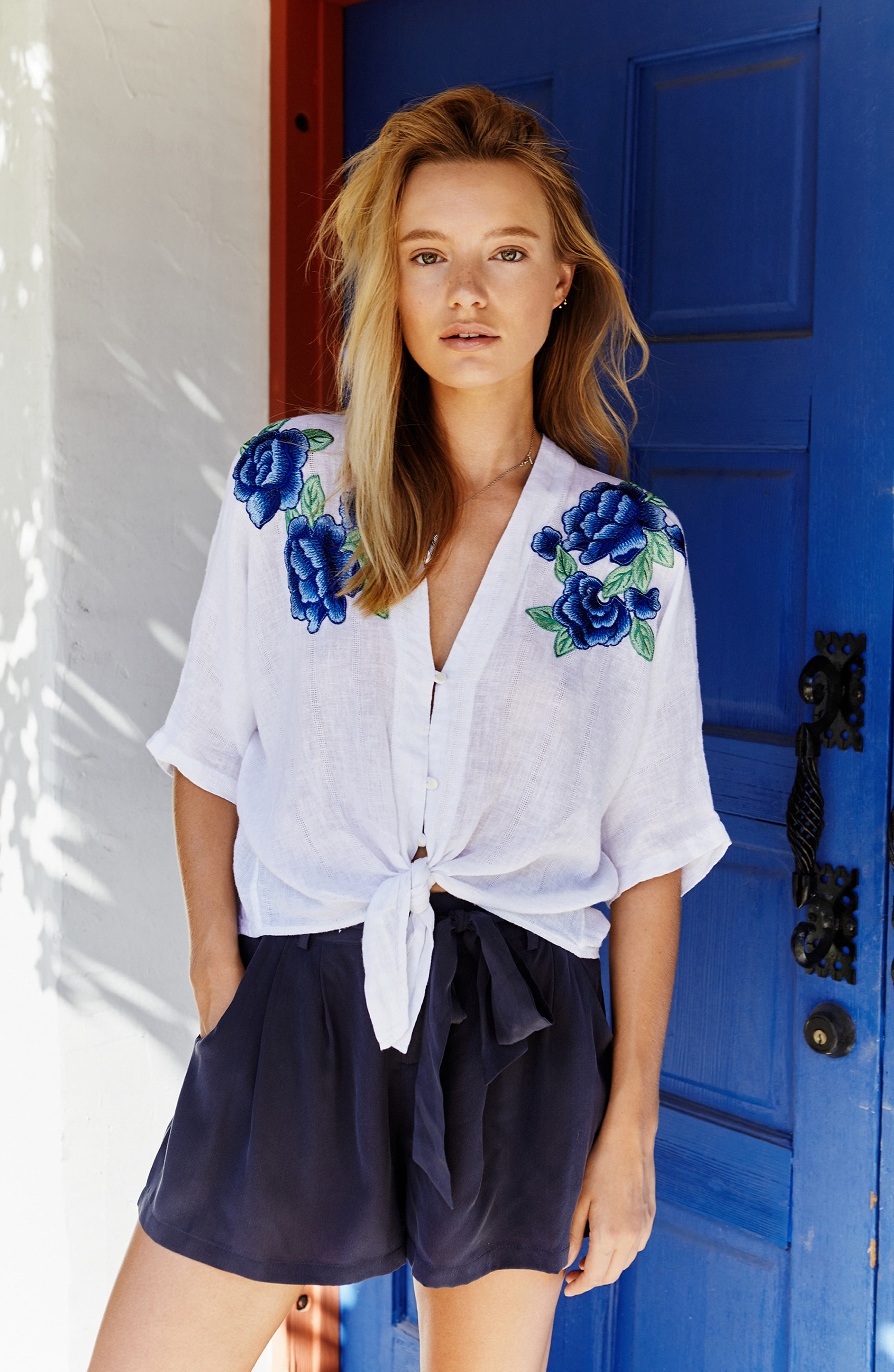 Thea Embroidered Tie Front Crop Top,                             Alternate thumbnail 9, color,                             142
