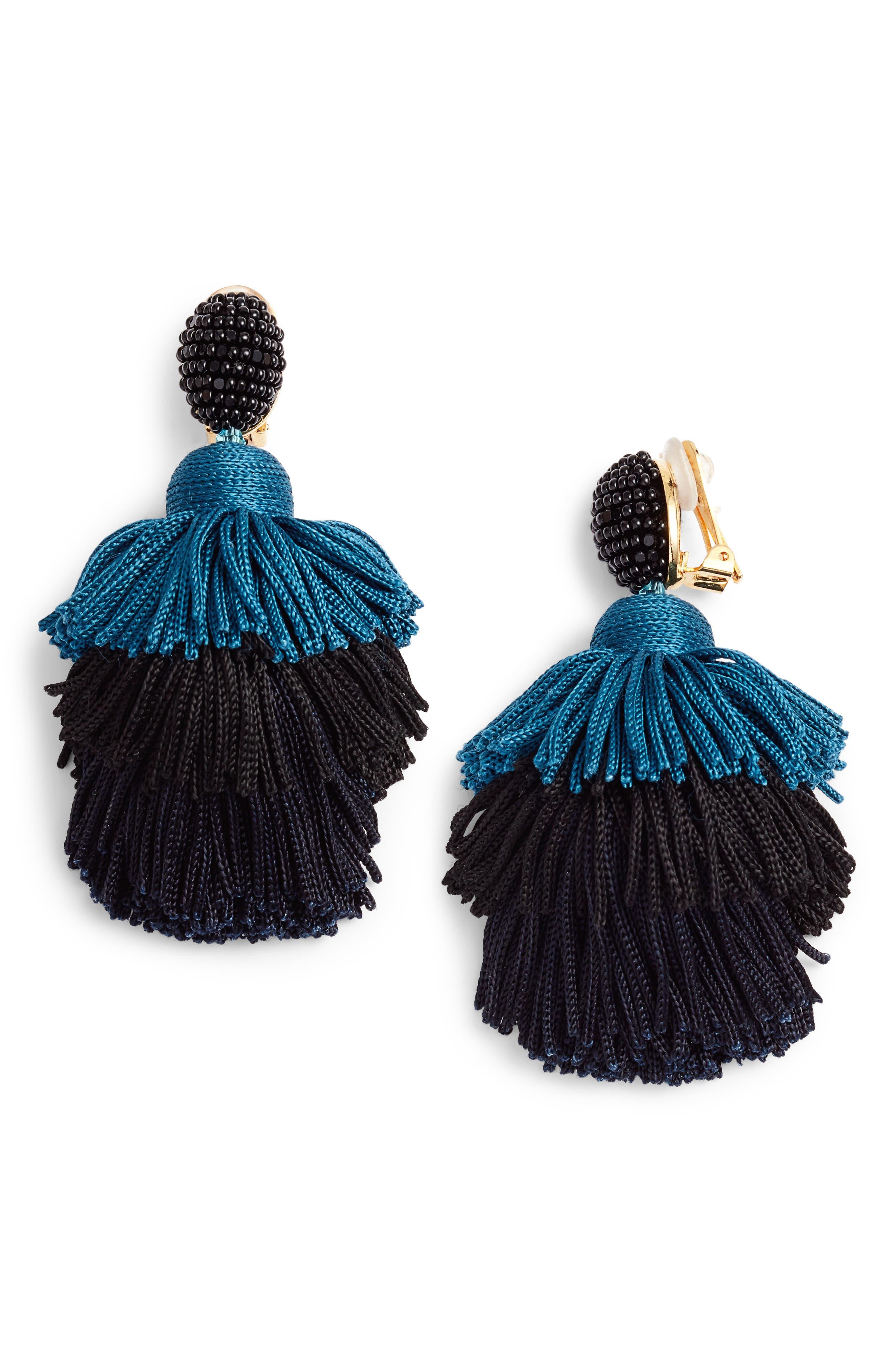 Tiered Tassel Drop Earrings,                             Main thumbnail 1, color,                             BLACK/ BLUE
