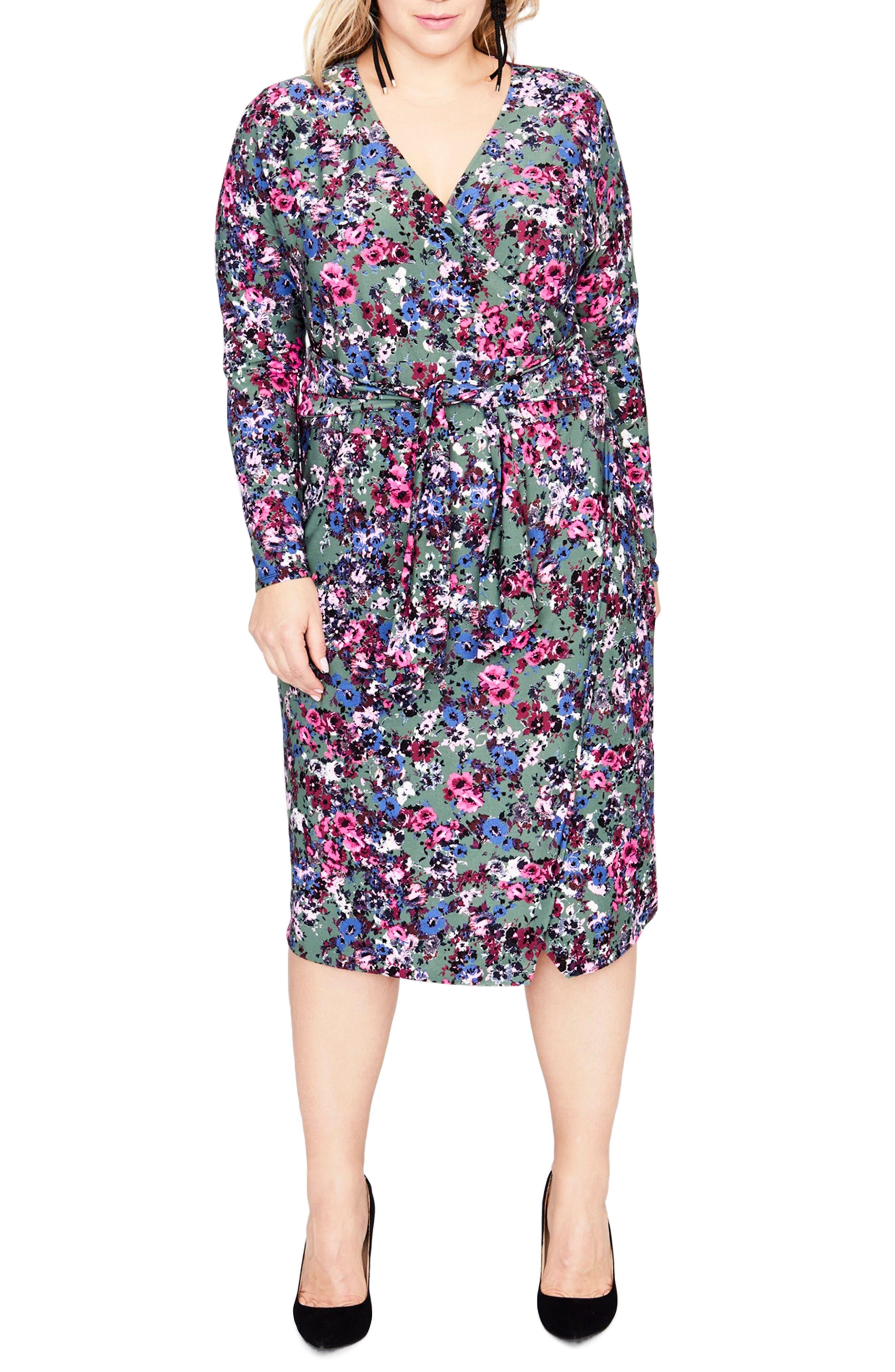 Tie Waist Print Jersey Dress,                             Main thumbnail 1, color,                             GREEN COMBO