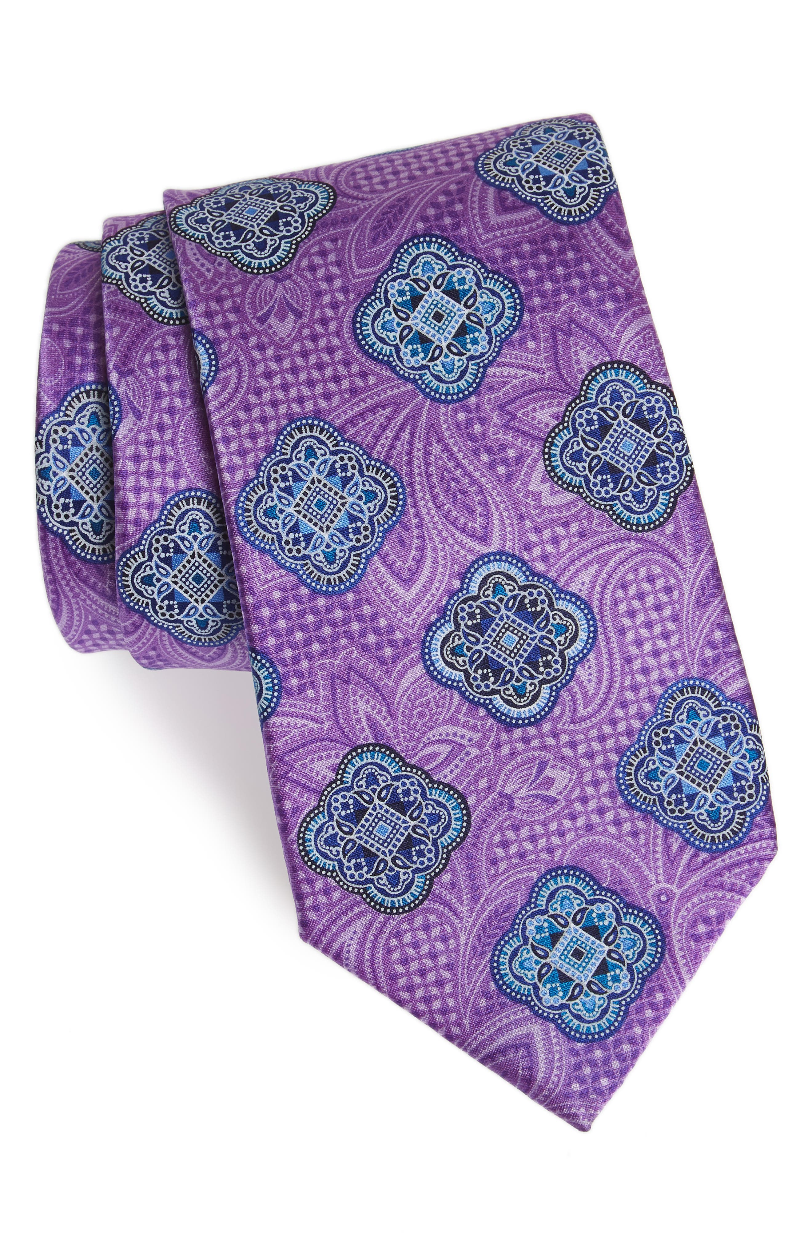 Delpy Medallion Silk Tie,                             Main thumbnail 1, color,