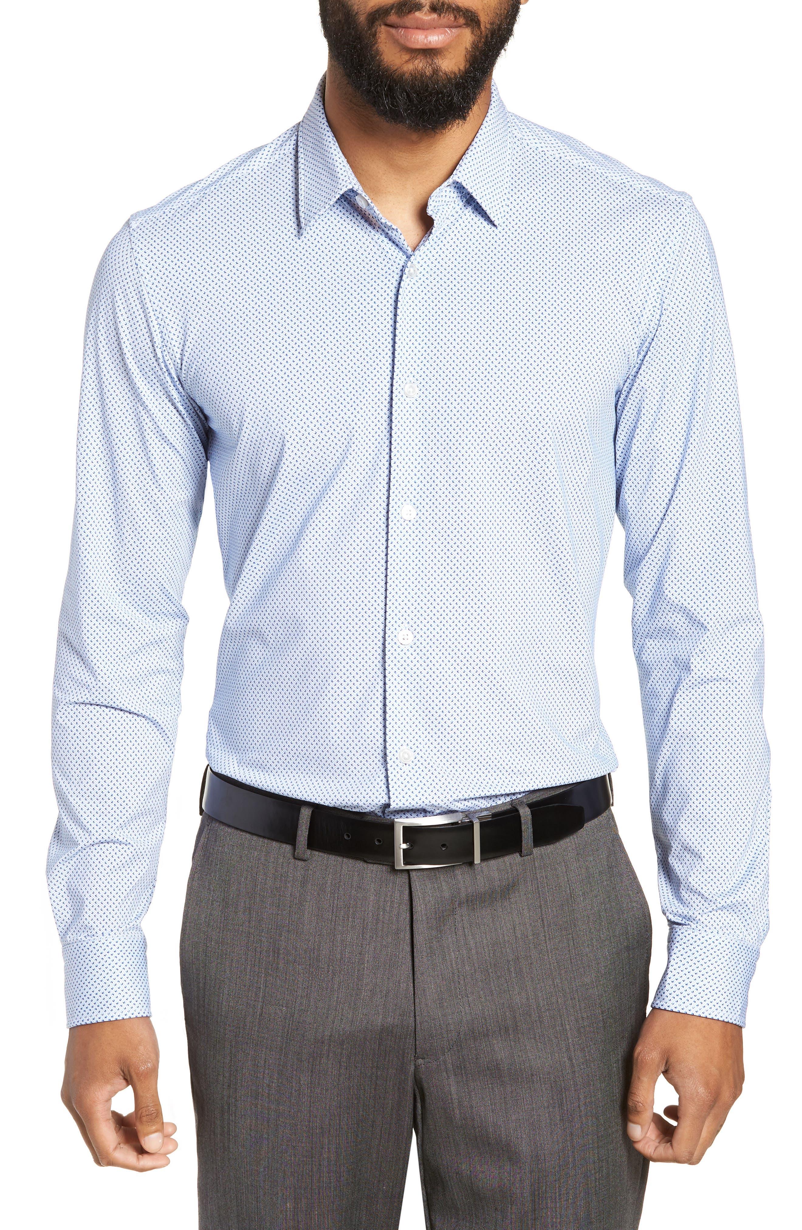 Ronni Slim Fit Performance Sport Shirt,                             Main thumbnail 1, color,                             BLUE
