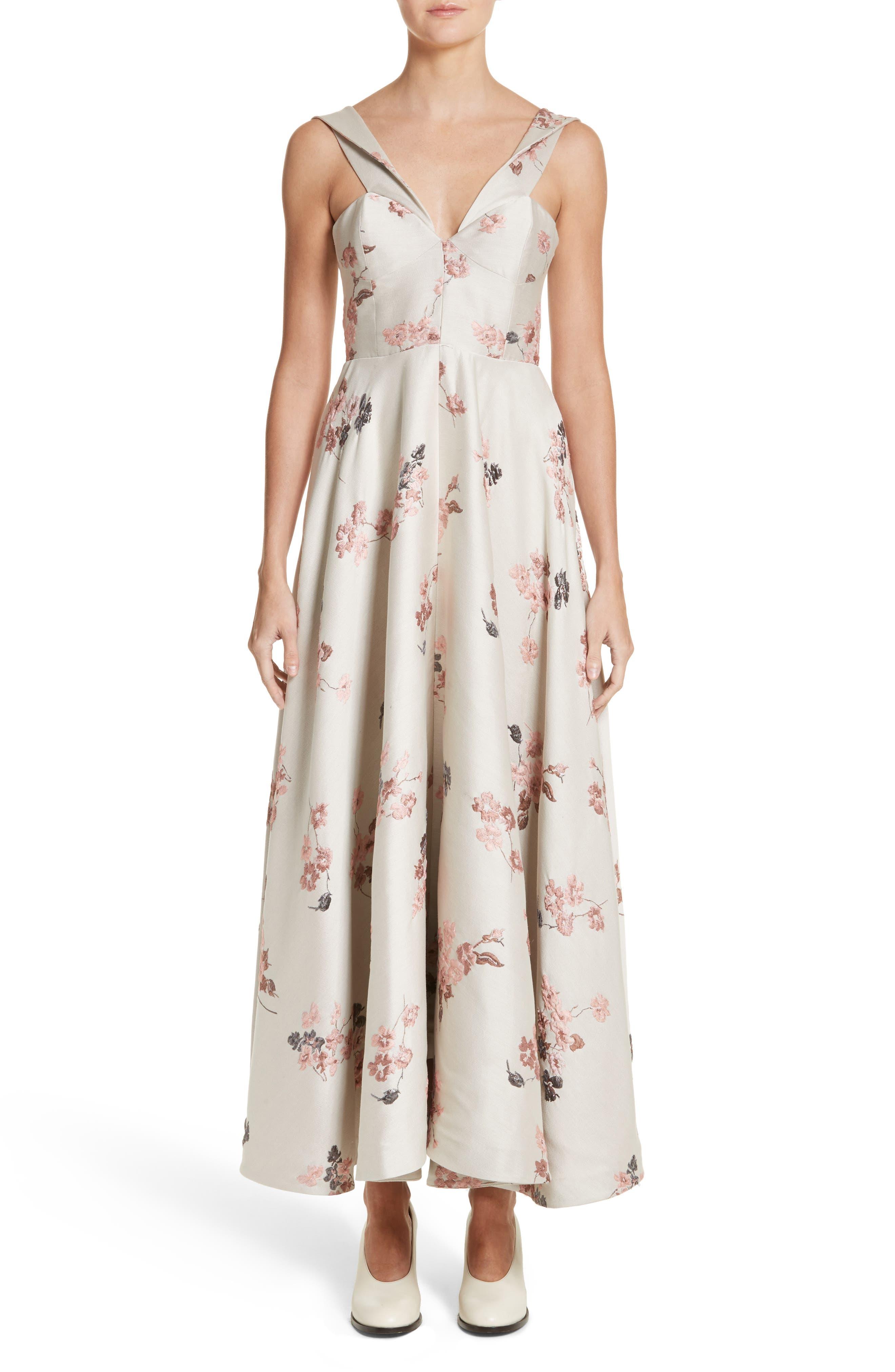 Metallic Floral Jacquard Off the Shoulder Dress,                             Alternate thumbnail 5, color,                             275