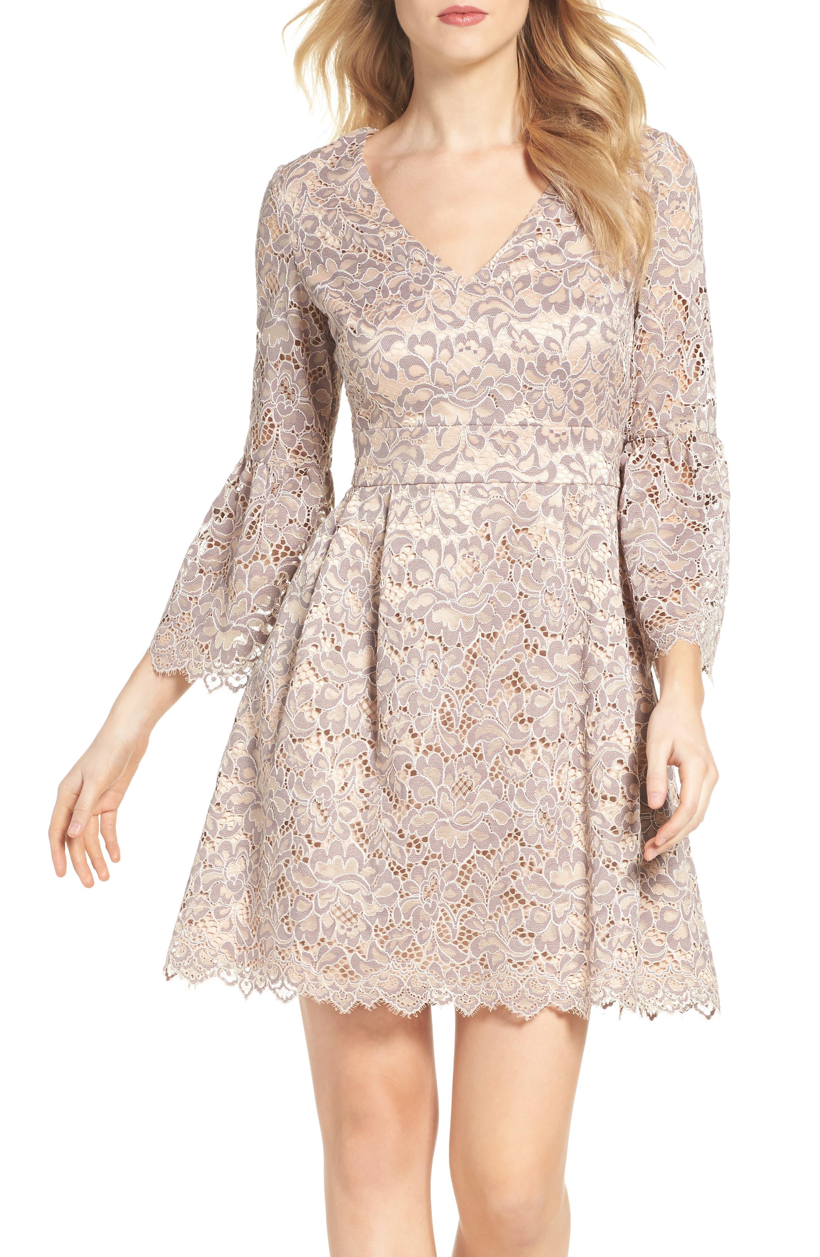 Lace Fit & Flare Dress,                             Alternate thumbnail 2, color,                             030