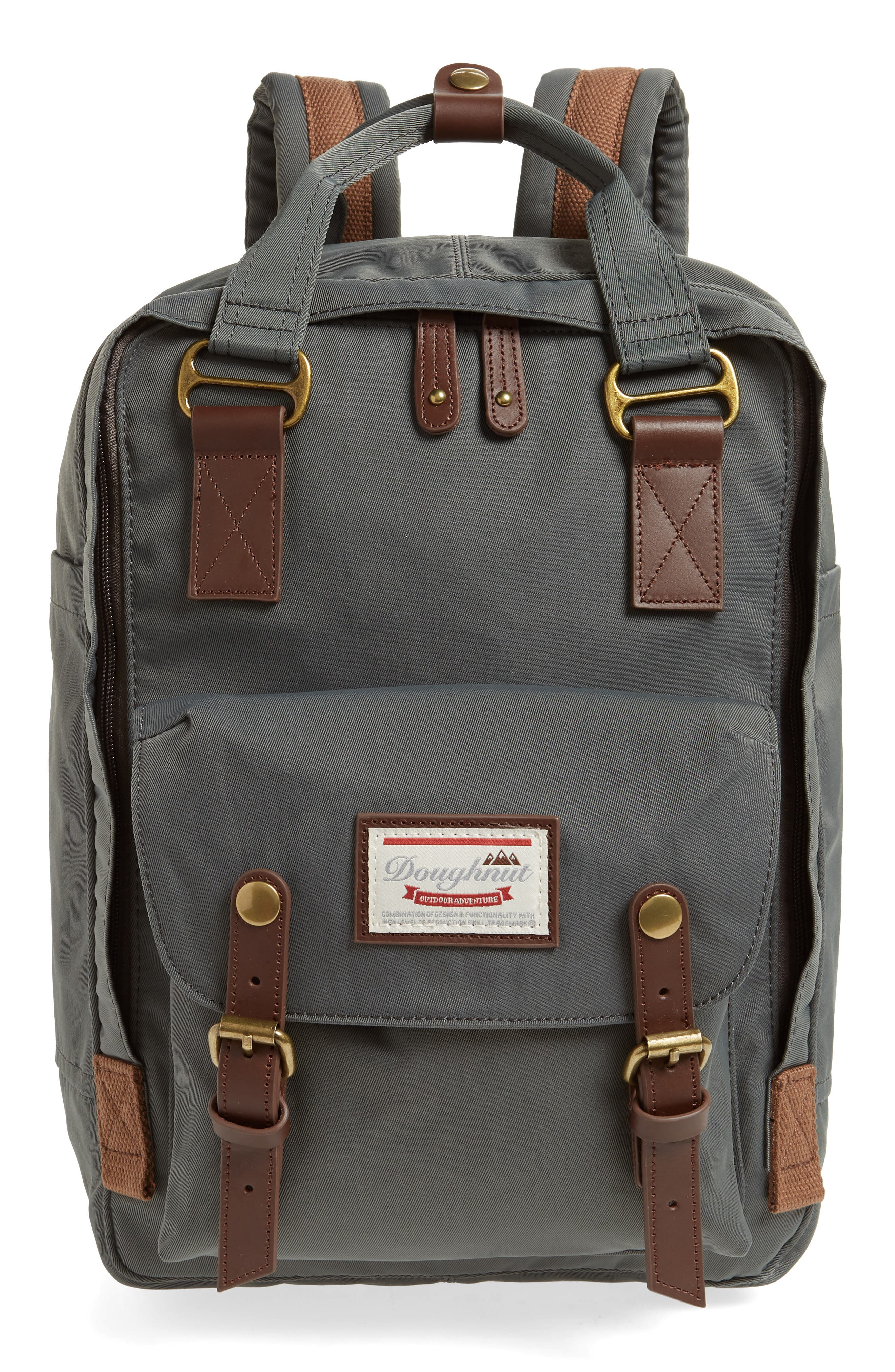 Macaroon Water Resistant Backpack,                         Main,                         color, CHARCOAL