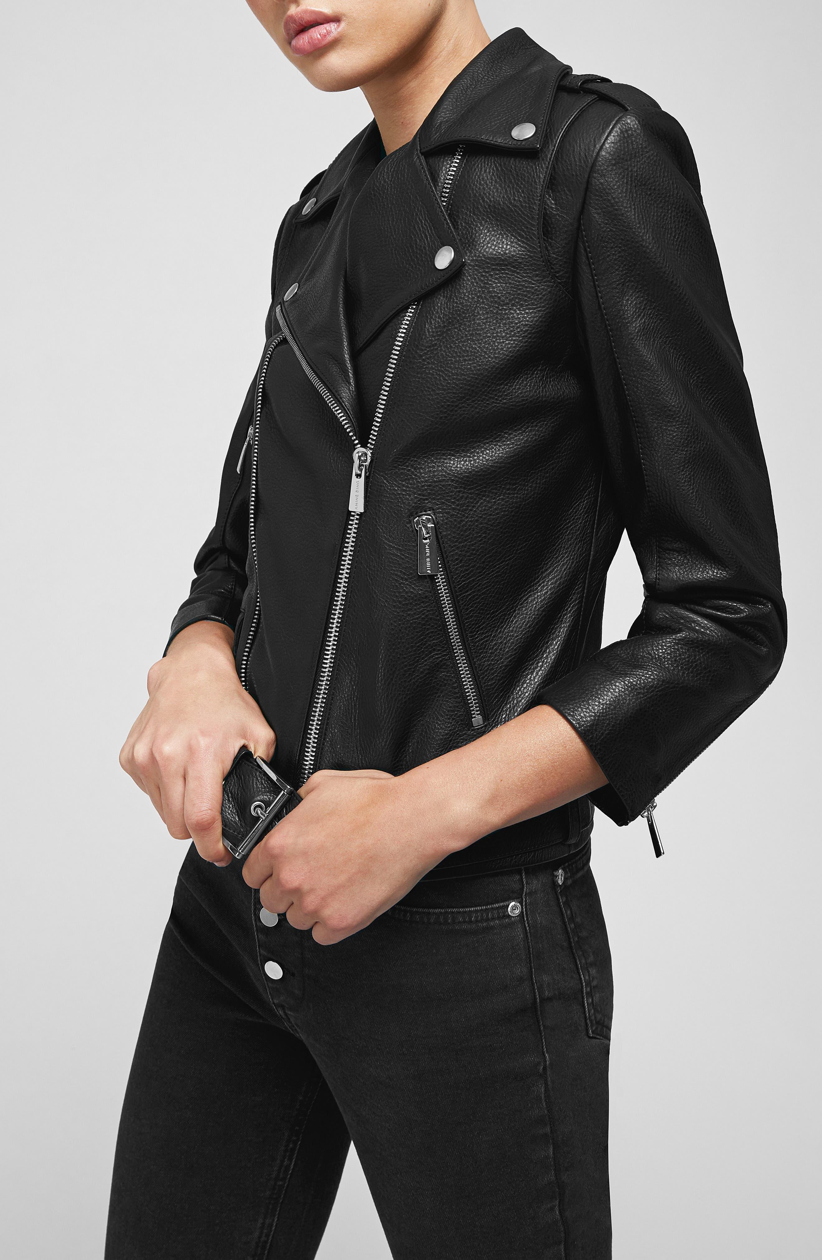 Cropped Leather Moto Jacket,                             Alternate thumbnail 3, color,                             BLACK