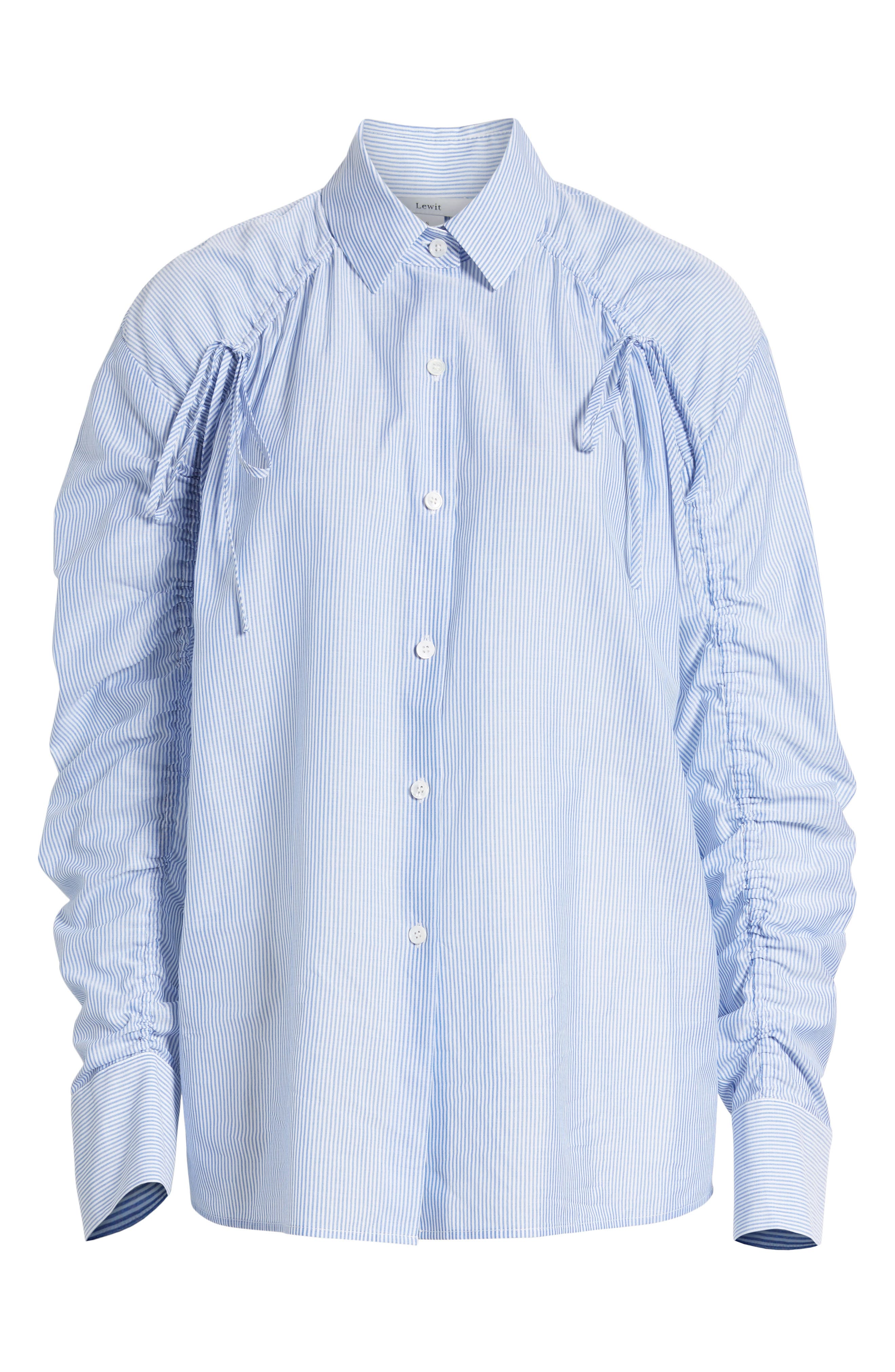 Ruched Sleeve Stripe Shirt,                             Alternate thumbnail 6, color,