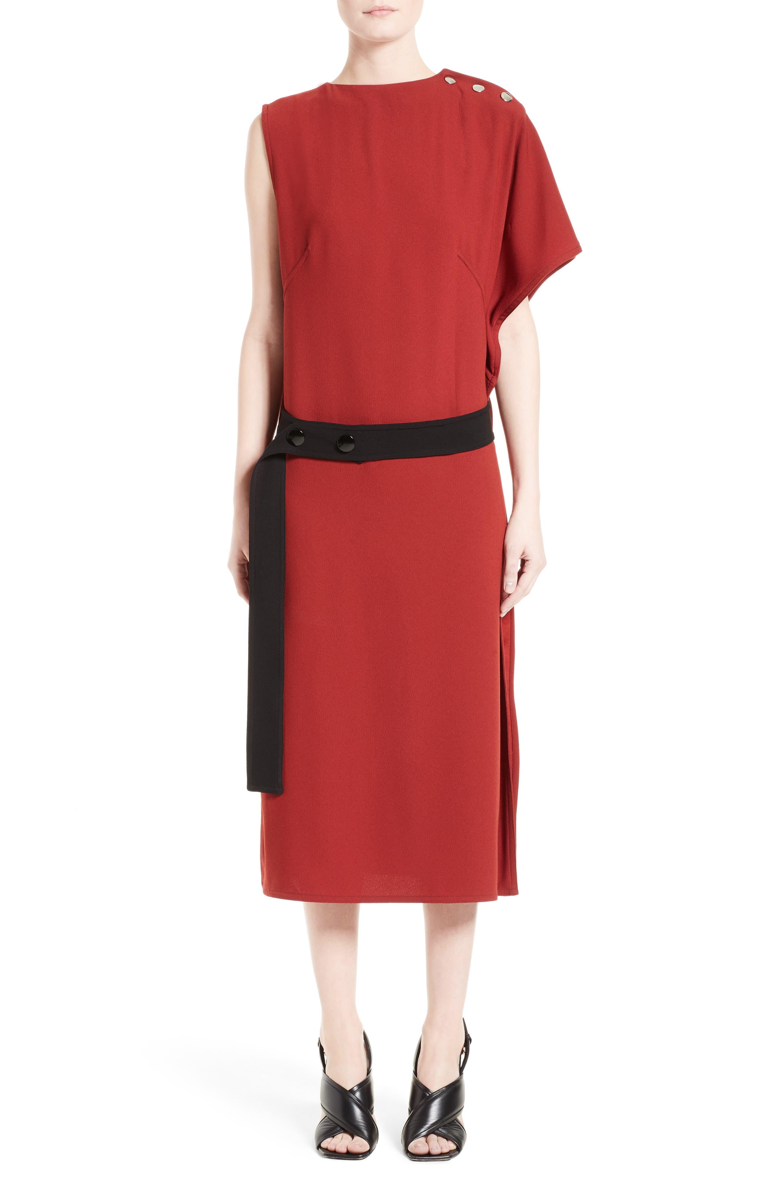 Crepe Asymmetrical Dress,                             Main thumbnail 1, color,