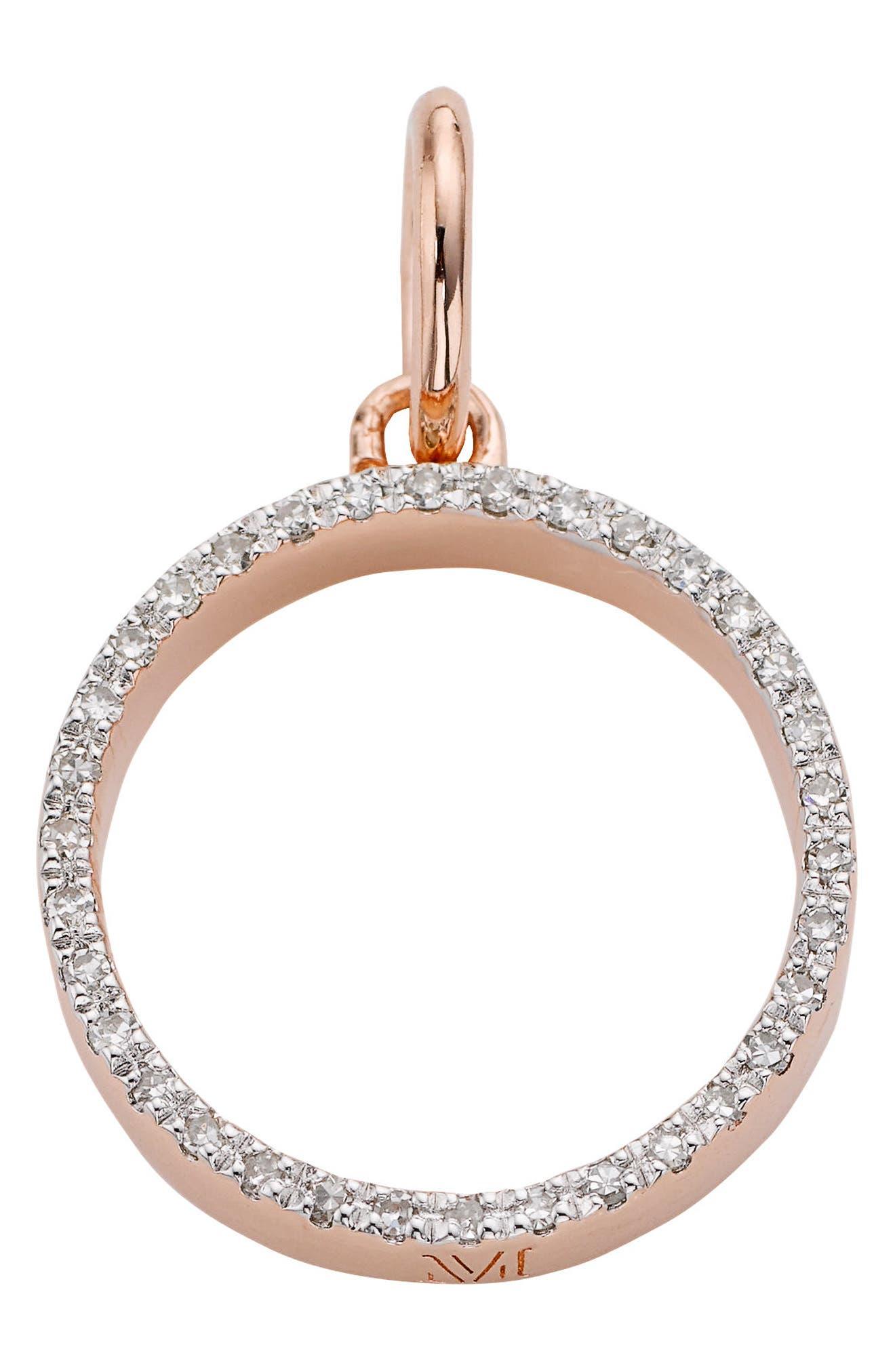 Naida Open Circle Diamond Pendant,                             Main thumbnail 1, color,                             ROSE GOLD/ DIAMOND