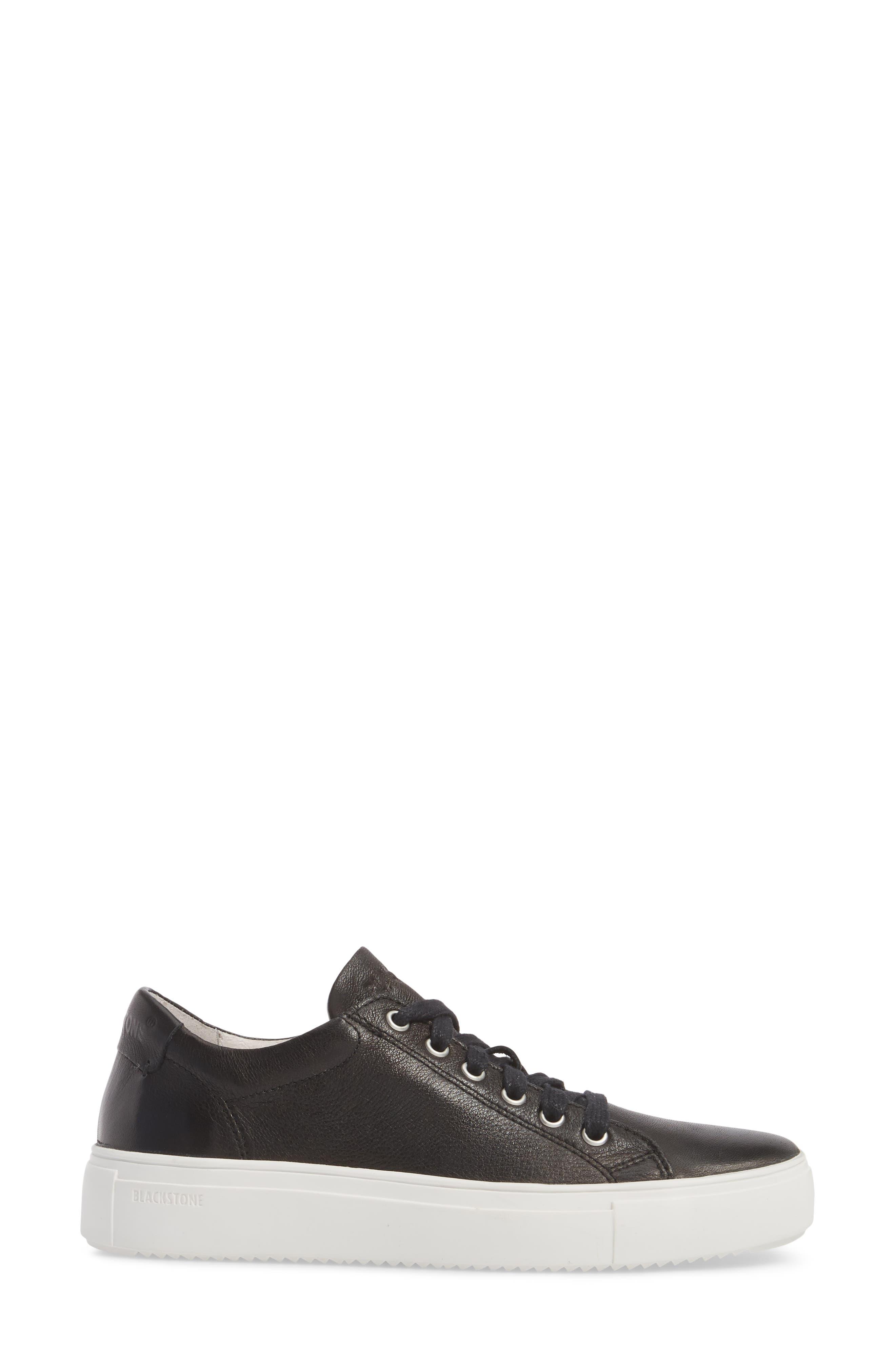 PL71 Low Top Sneaker,                             Alternate thumbnail 3, color,                             BLACK LEATHER