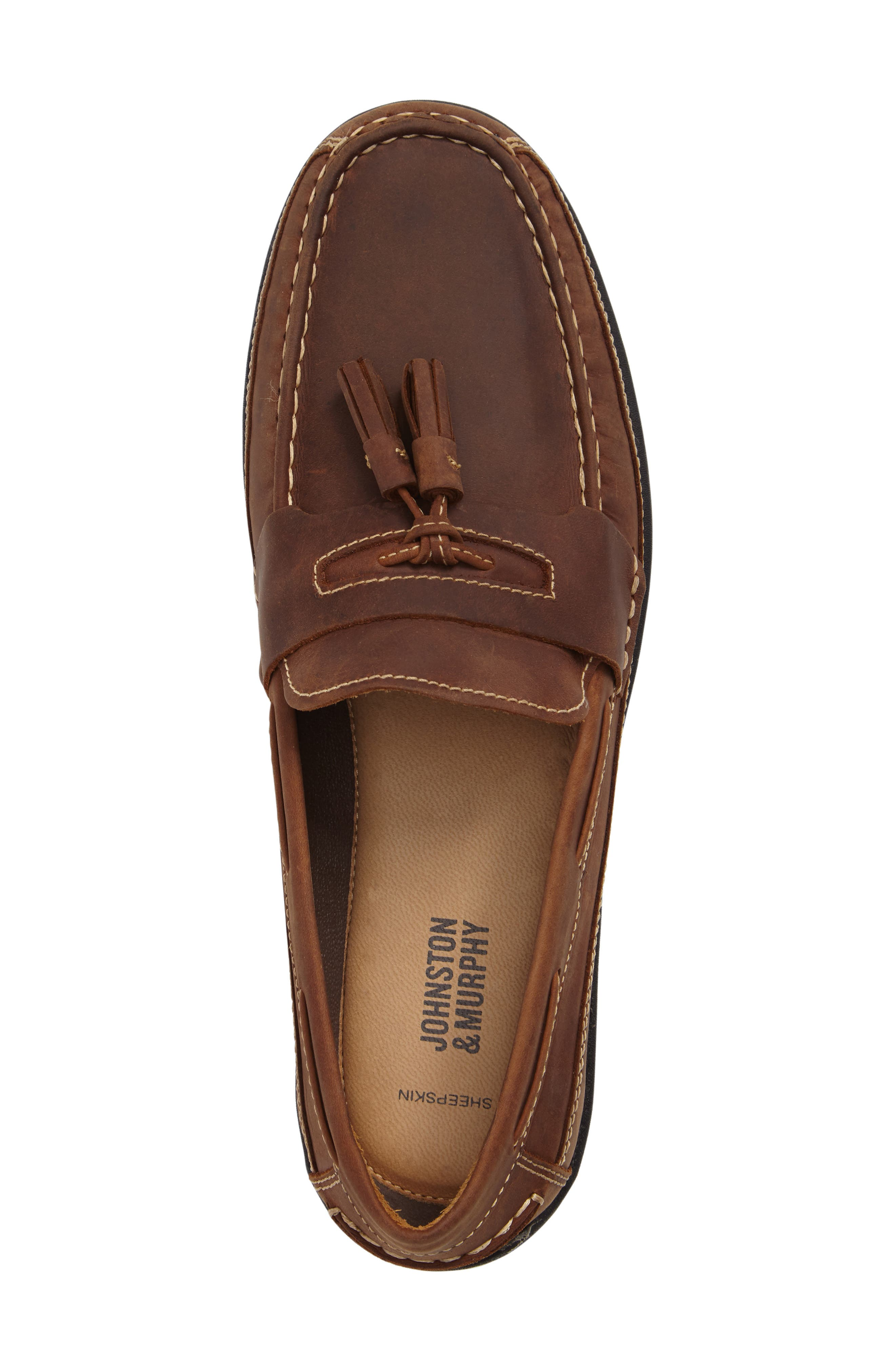 Fowler Tasseled Loafer,                             Alternate thumbnail 5, color,                             TAN LEATHER