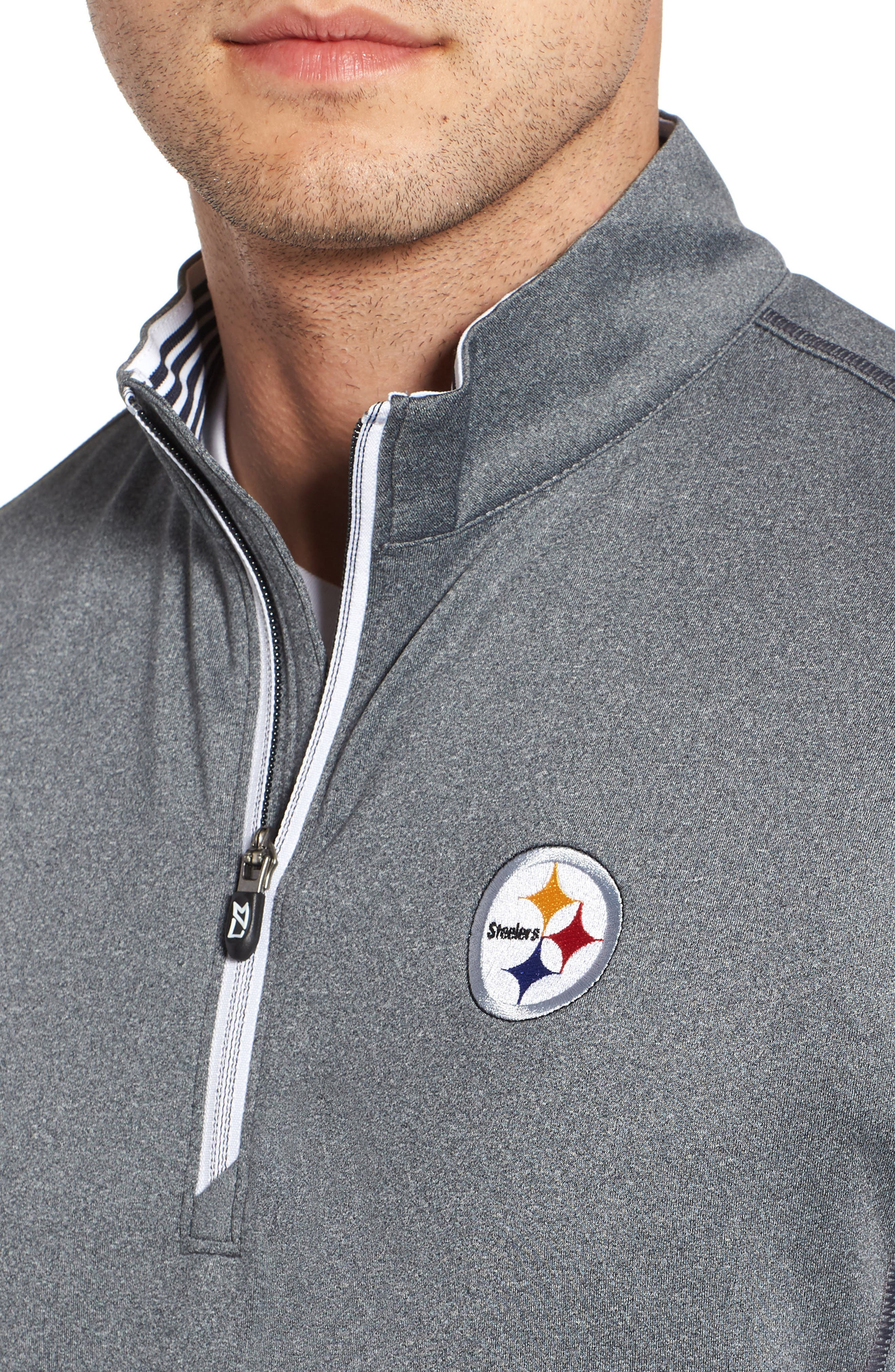 Endurance Pittsburgh Steelers Regular Fit Pullover,                             Alternate thumbnail 4, color,                             CHARCOAL HEATHER