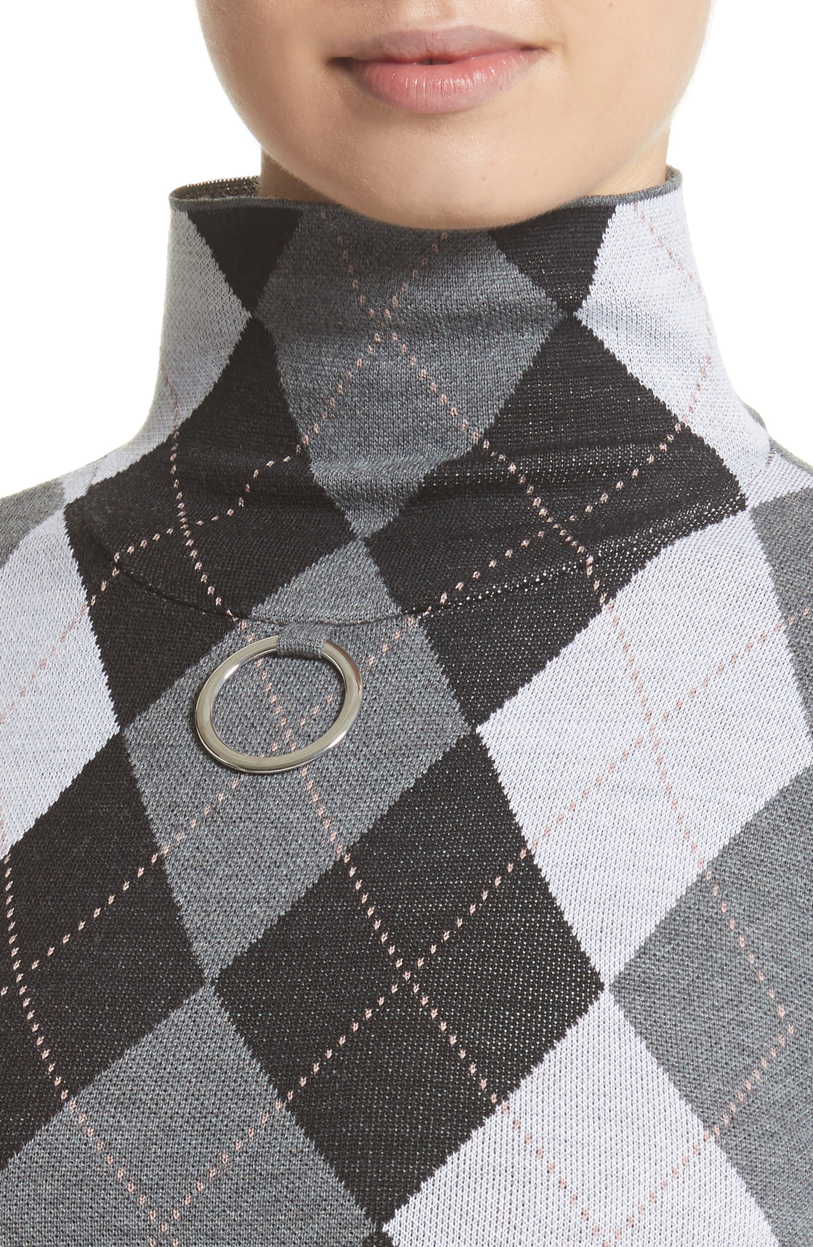 Ring Detail Arygle Sweater,                             Alternate thumbnail 4, color,                             020