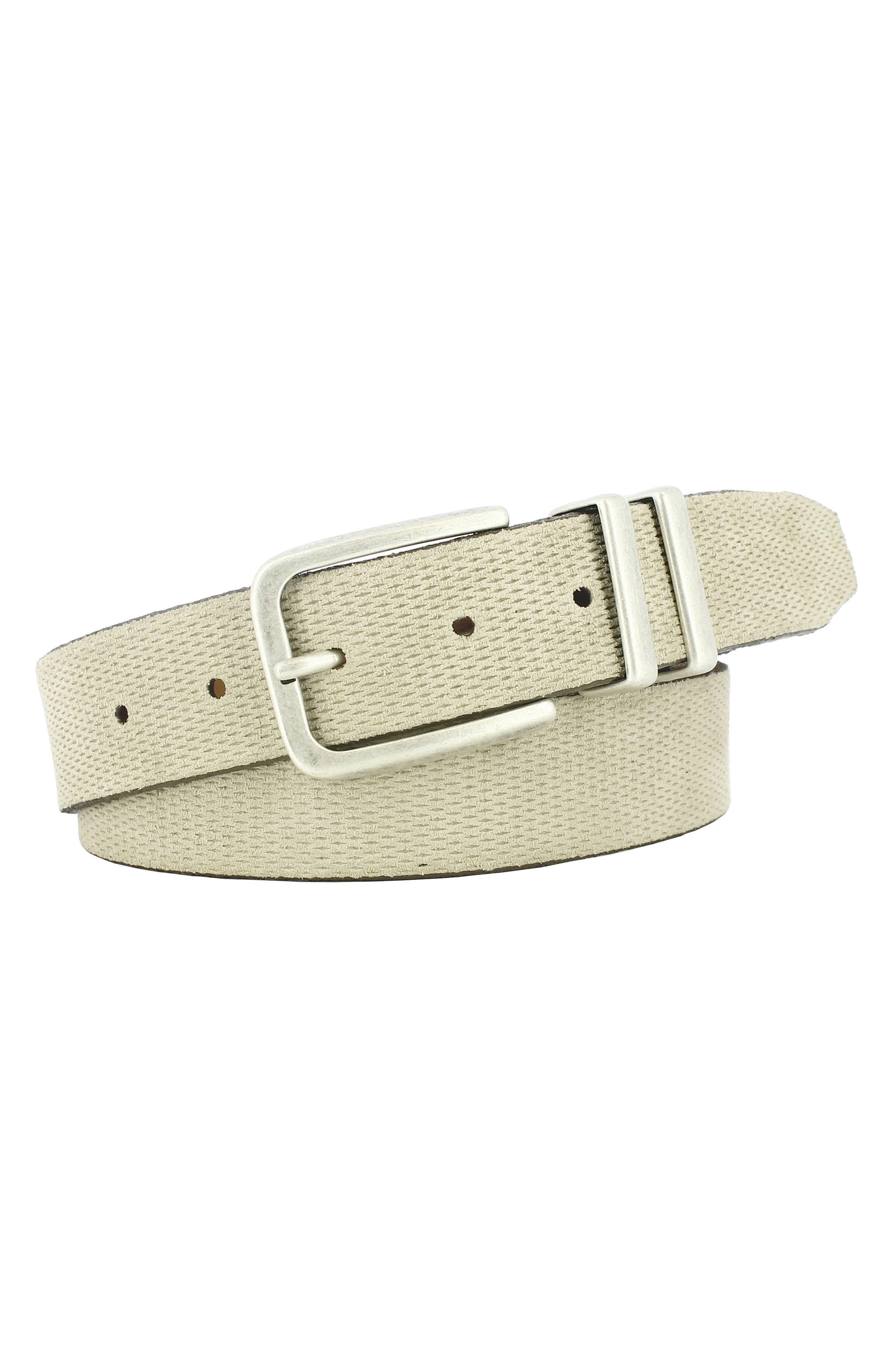 Remo Tulliani Axel Textured Leather Belt, Cream