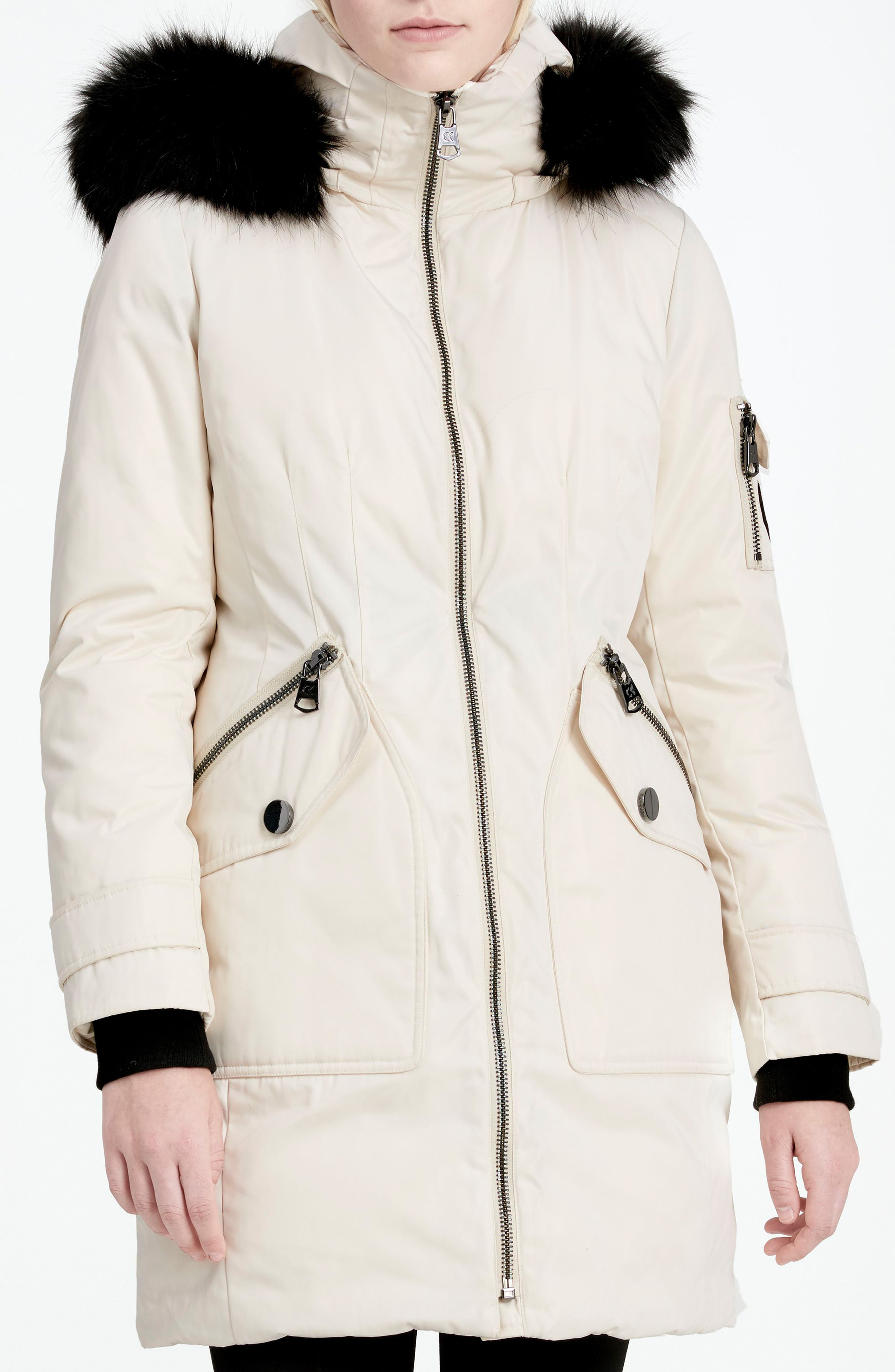 Calvien Klein Hooded Down Parka with Removable Faux Fur Collar,                             Alternate thumbnail 10, color,