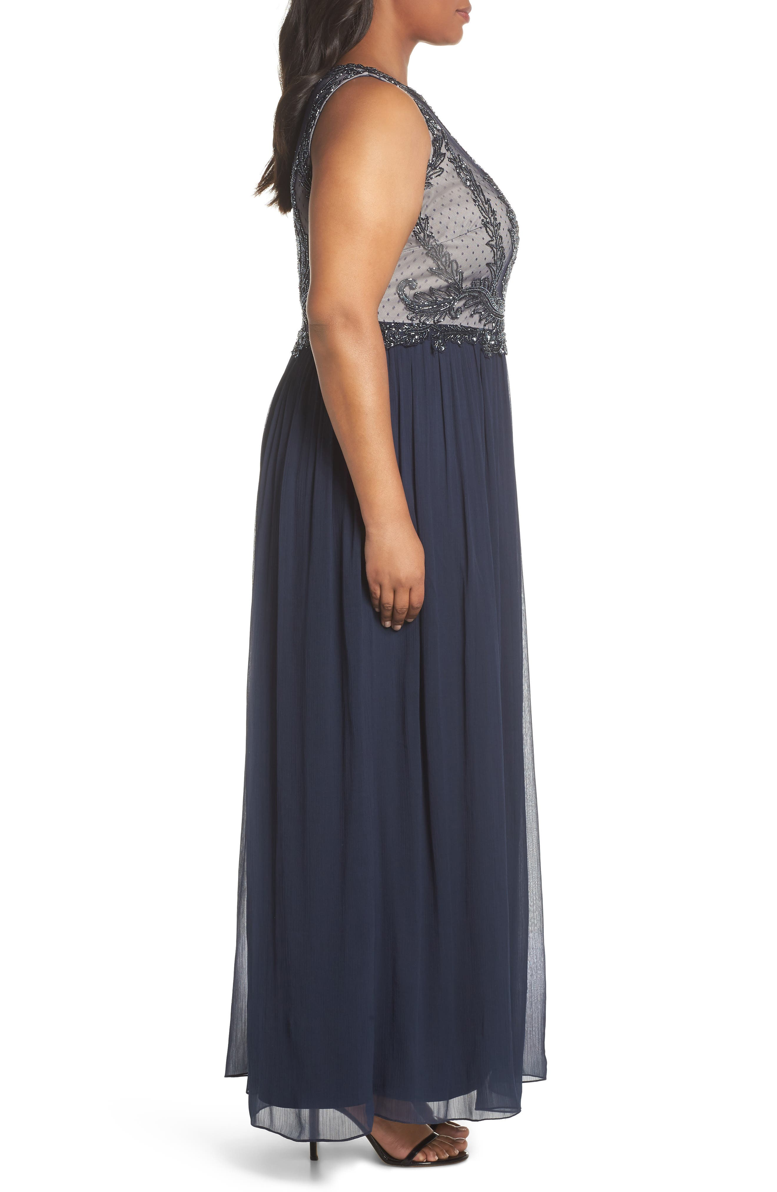 Beaded Bodice Chiffon Gown,                             Alternate thumbnail 3, color,                             412