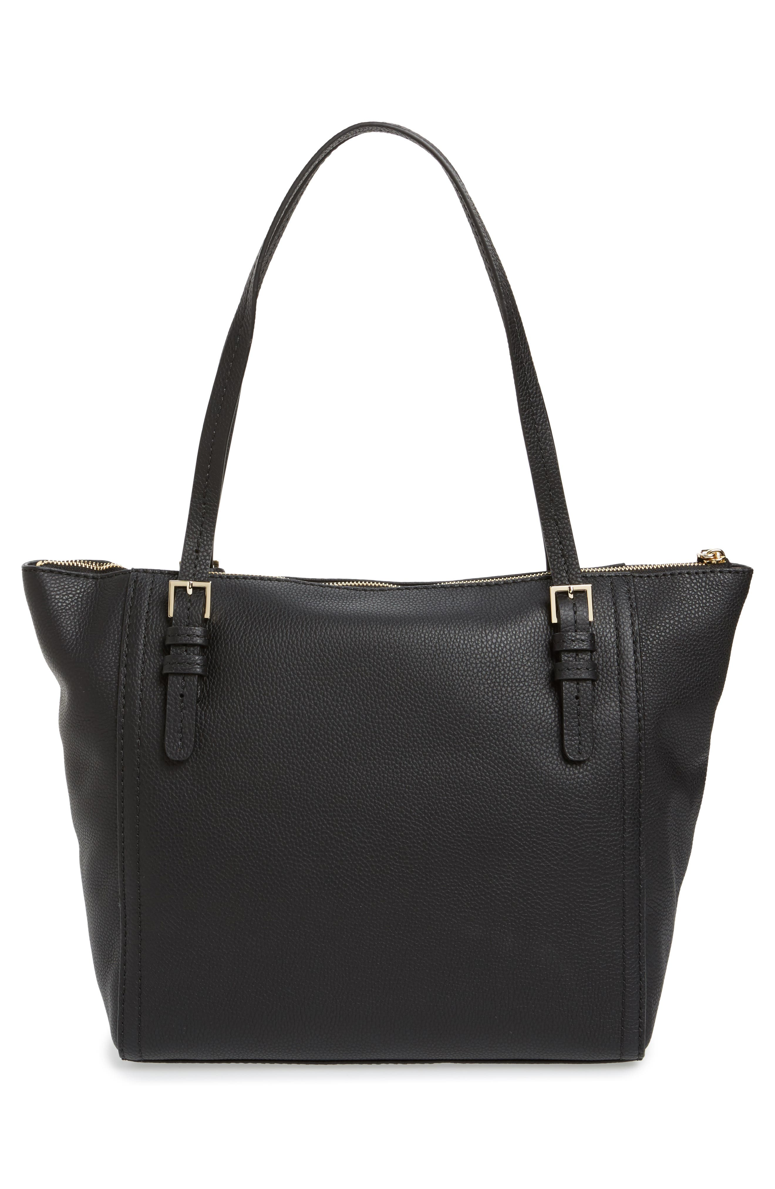 orchard street - maya leather tote,                             Alternate thumbnail 3, color,                             001