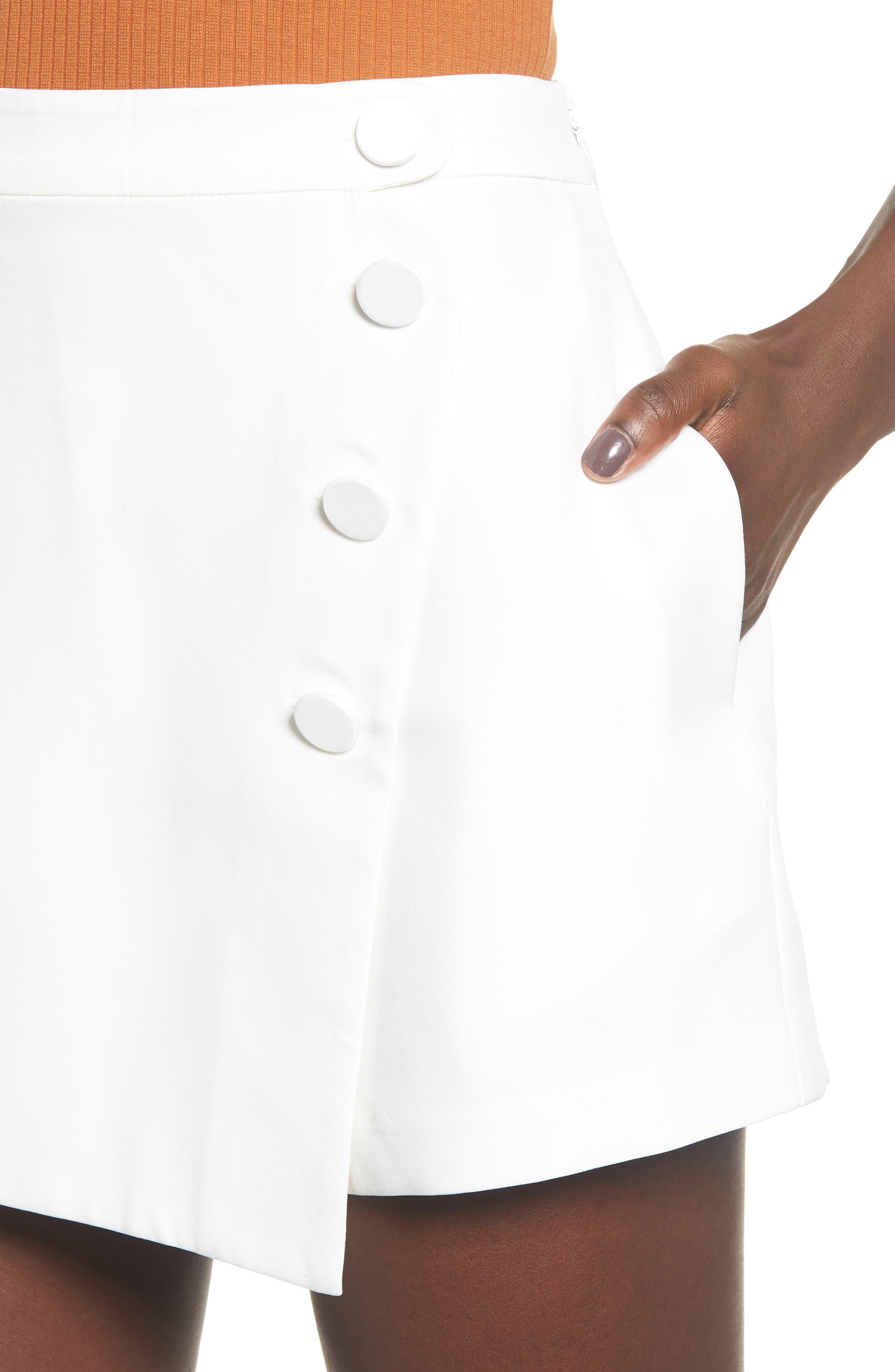 Satin Wrap Style Skort,                             Alternate thumbnail 4, color,                             WHITE