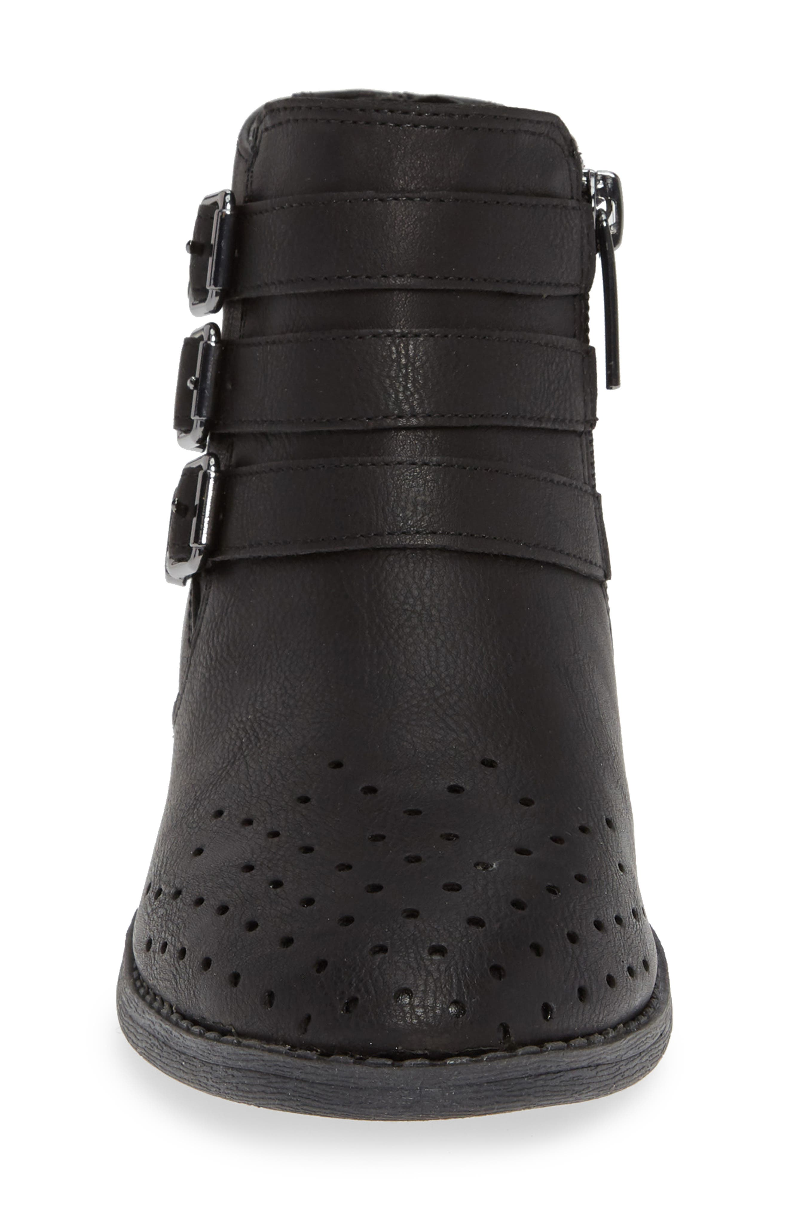 Perforated Buckle Bootie,                             Alternate thumbnail 4, color,                             BLACK HUDSON