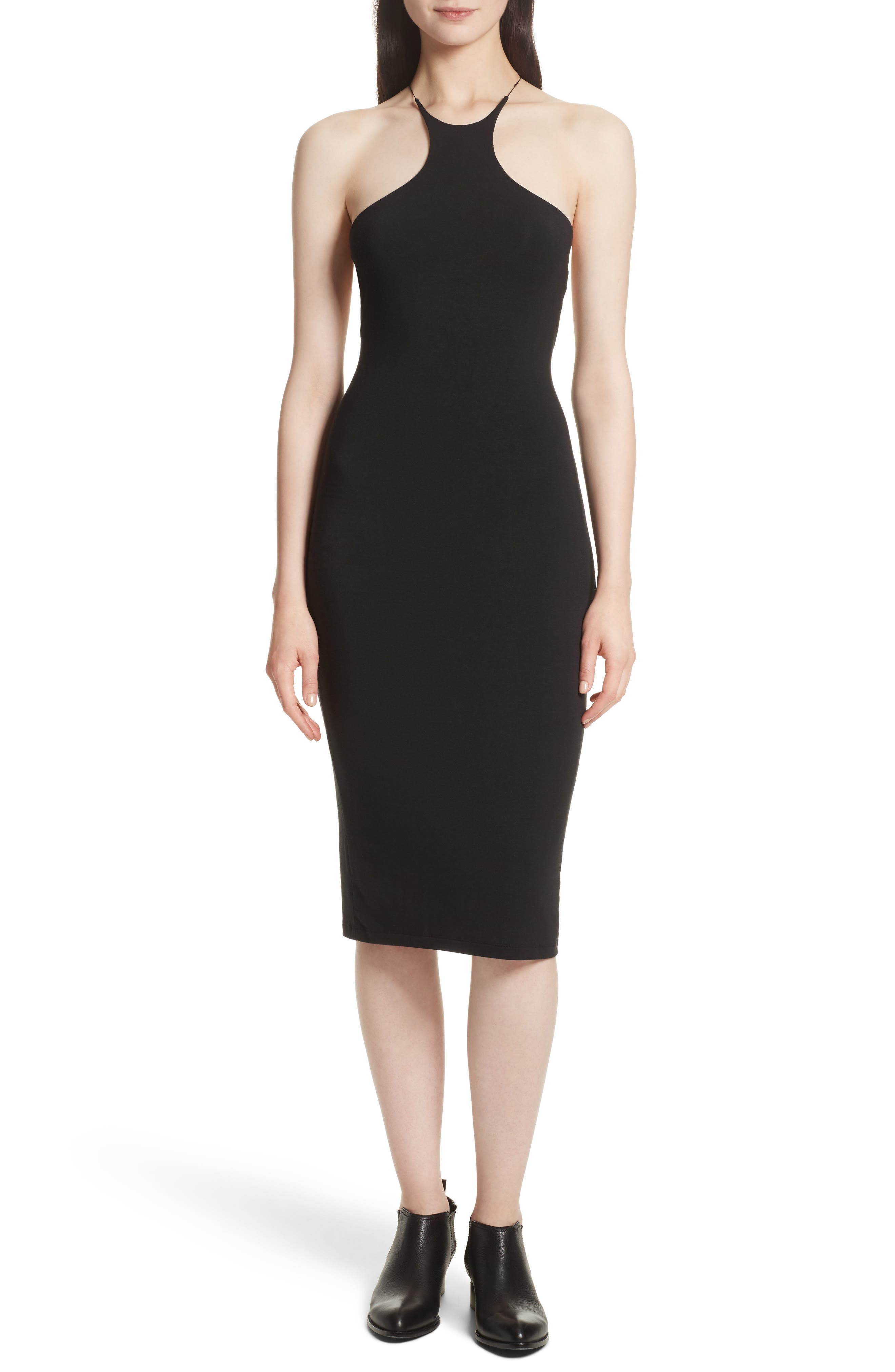 T by Alexander Wang Lace-Up Stretch Jersey Midi Dress,                             Alternate thumbnail 5, color,                             001