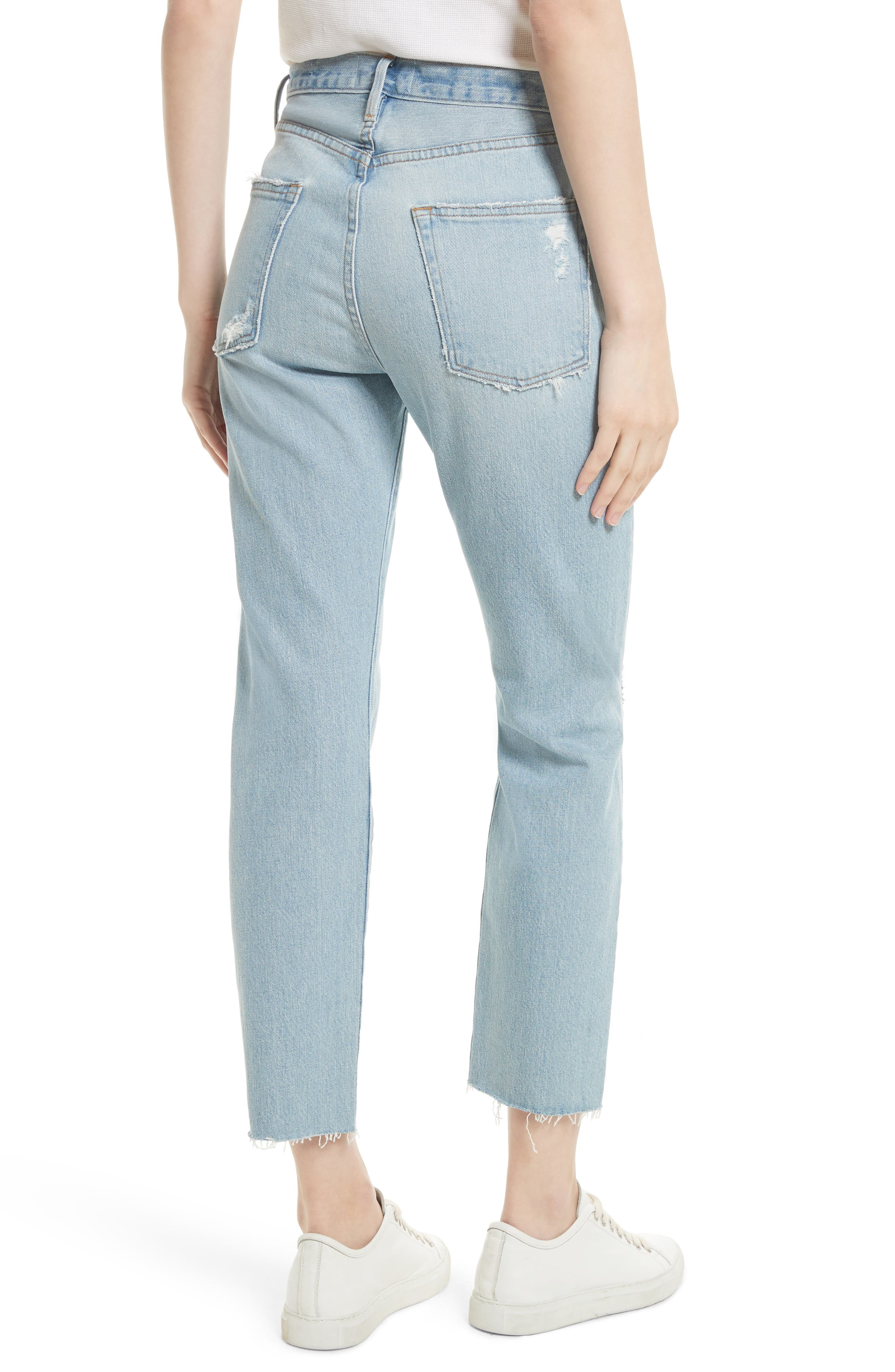 Le Original Raw Edge High Waist Jeans,                             Alternate thumbnail 2, color,                             450