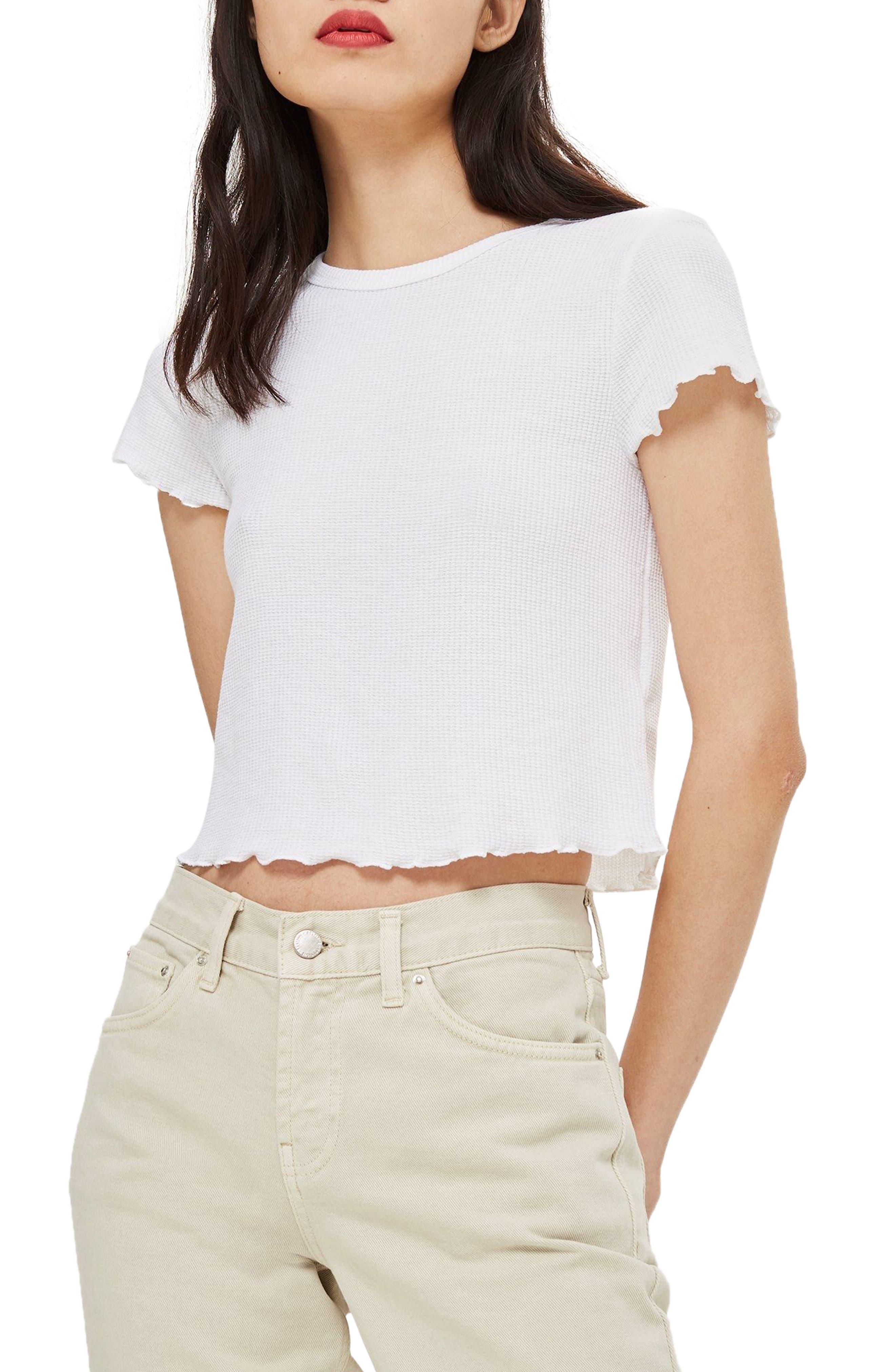 Waffle Short Sleeve T-Shirt,                         Main,                         color, 100
