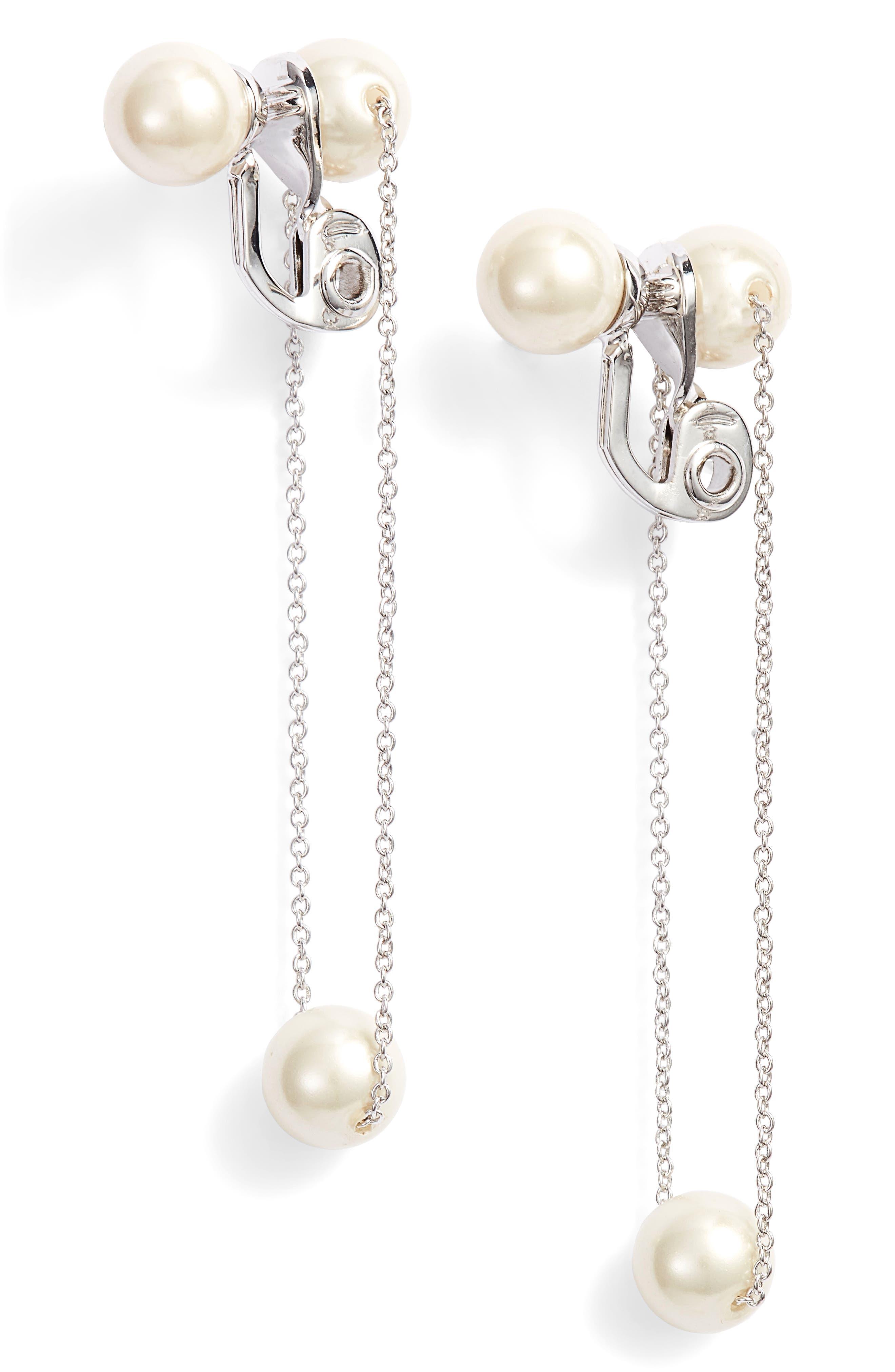 Imitation Pearl Clip Earrings,                             Main thumbnail 1, color,