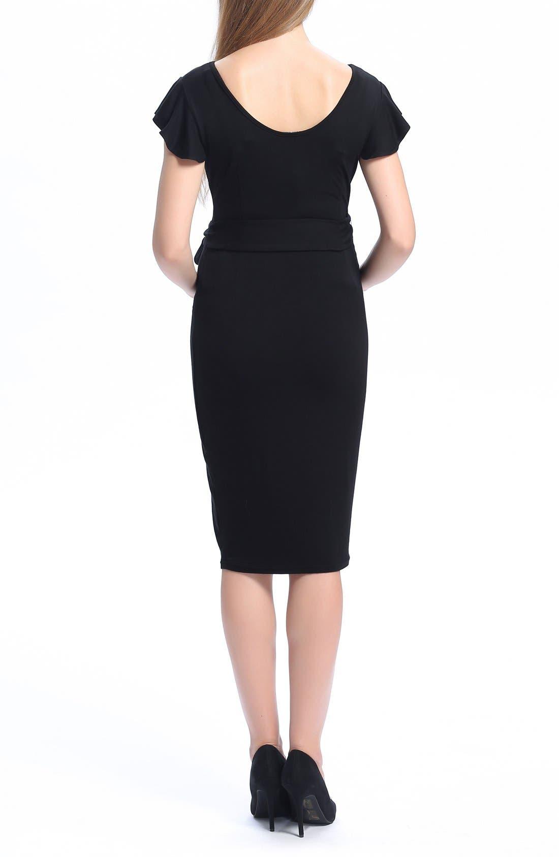 Lucile Ruffle Sleeve Maternity Dress,                             Alternate thumbnail 2, color,                             BLACK