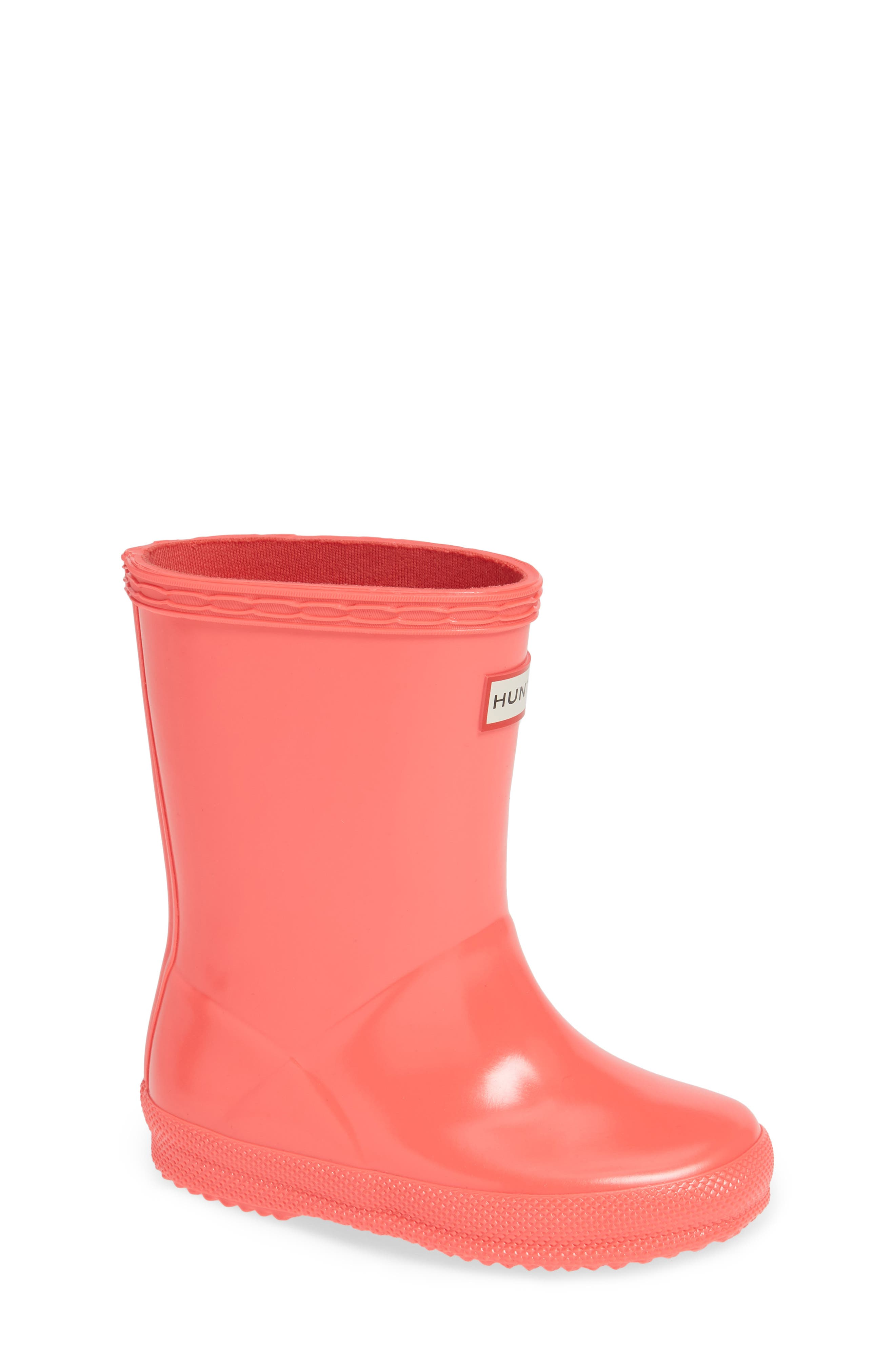 'First Gloss' Rain Boot,                             Main thumbnail 1, color,                             HYPER PINK