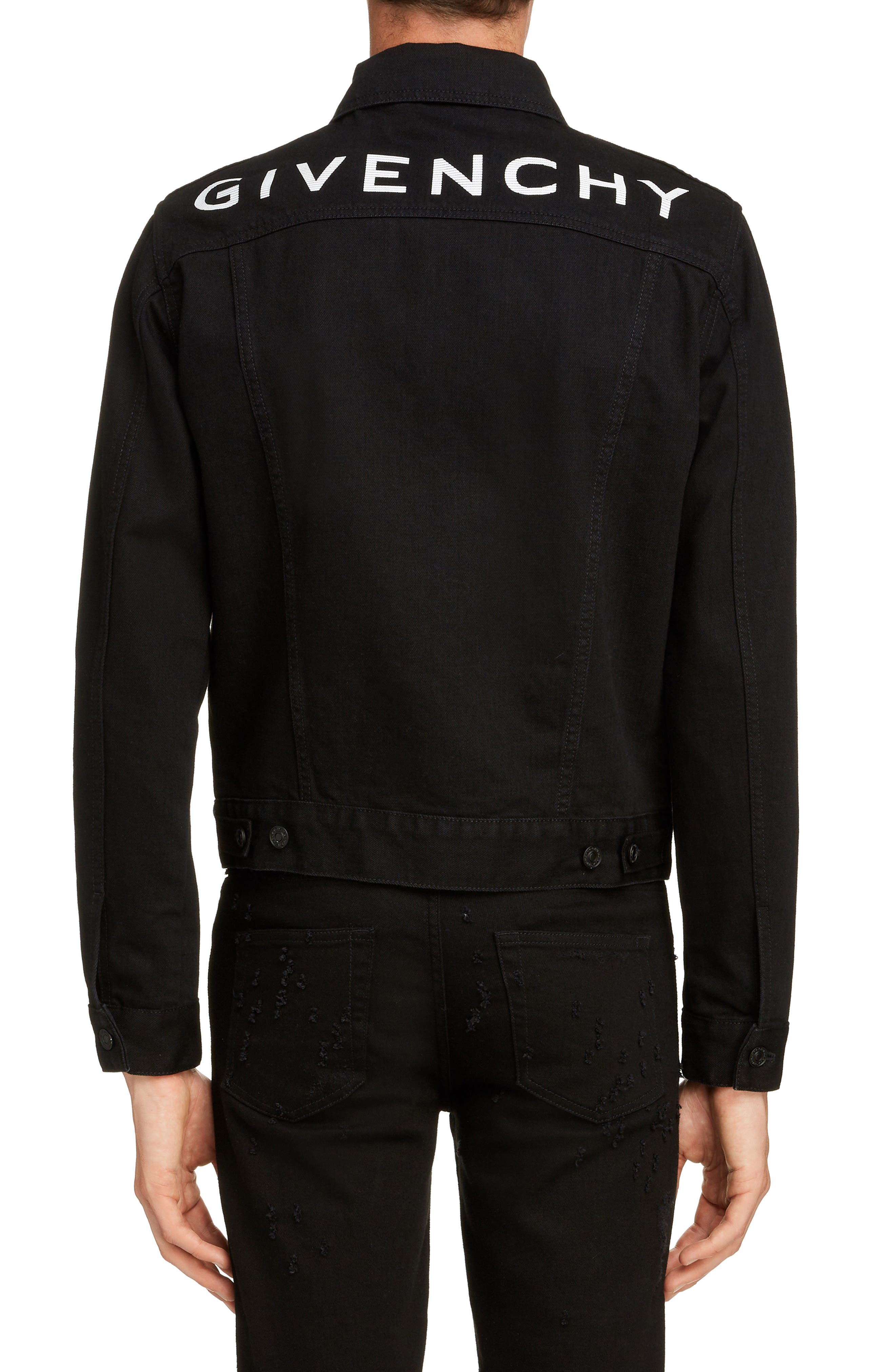 GIVENCHY,                             Logo Denim Jacket,                             Alternate thumbnail 2, color,                             BLACK