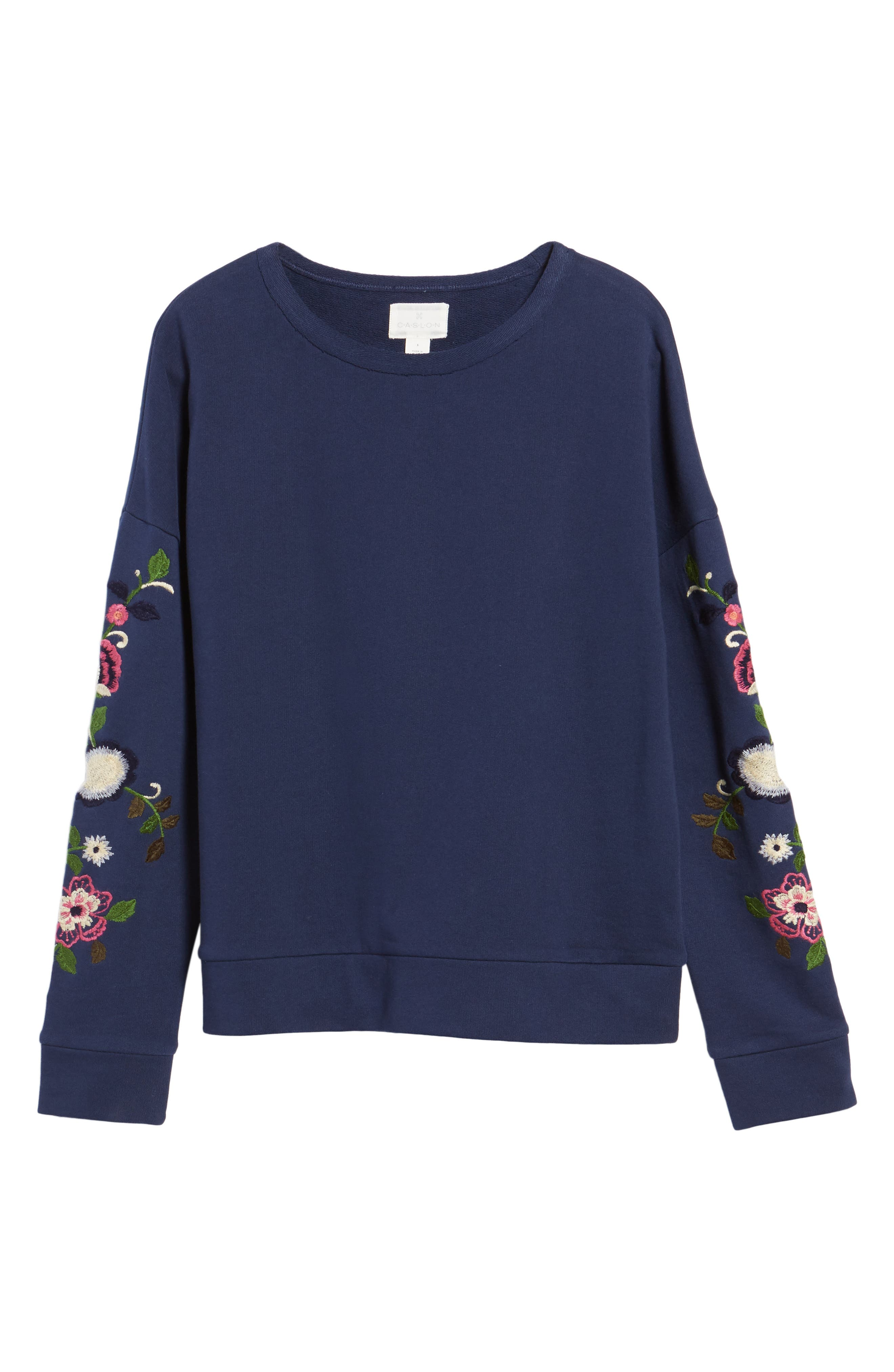 Embroidered Sleeve Sweatshirt,                             Alternate thumbnail 6, color,                             410