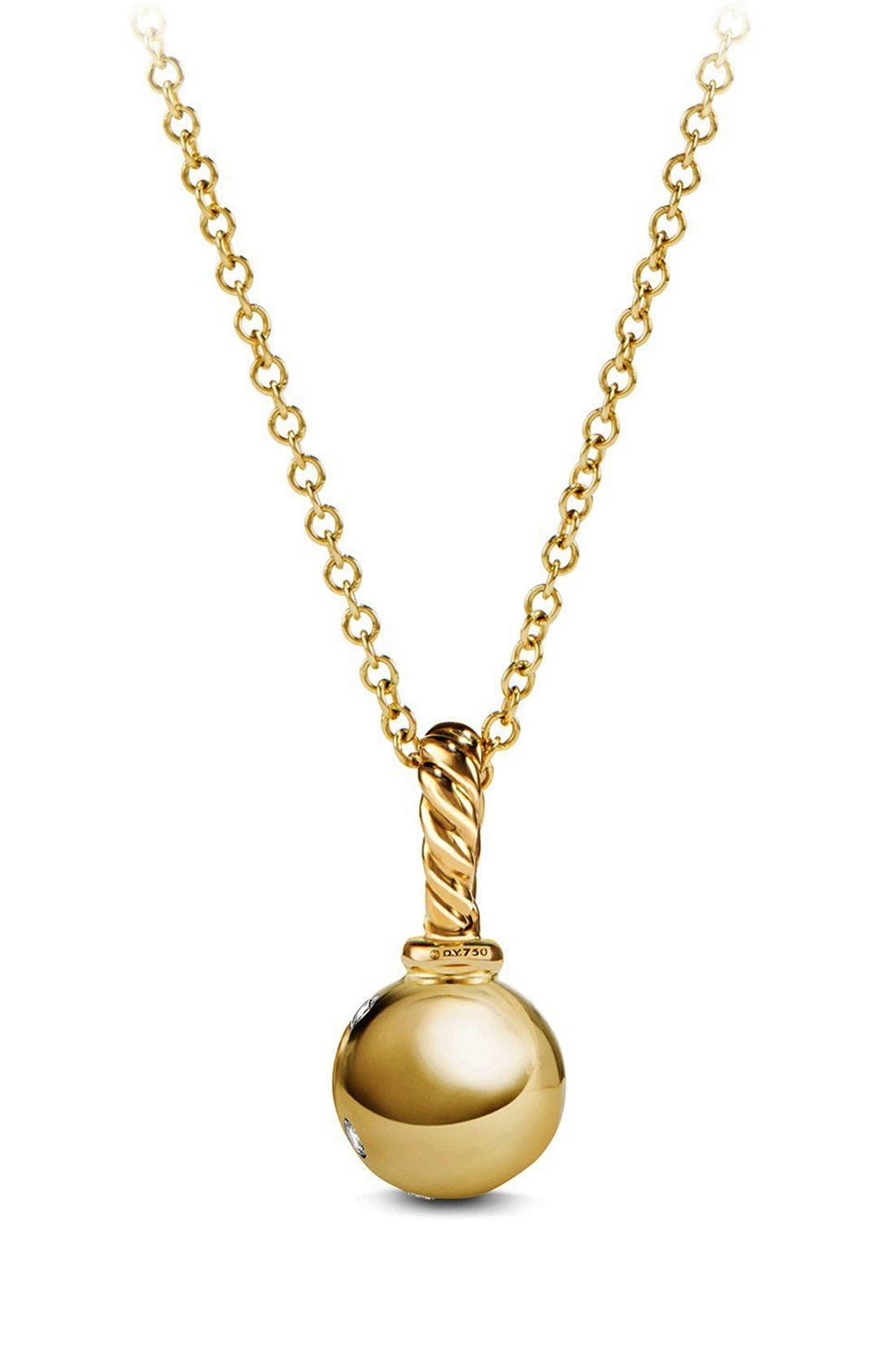 Pendant with Diamonds in 18K Gold,                             Alternate thumbnail 3, color,                             GOLD