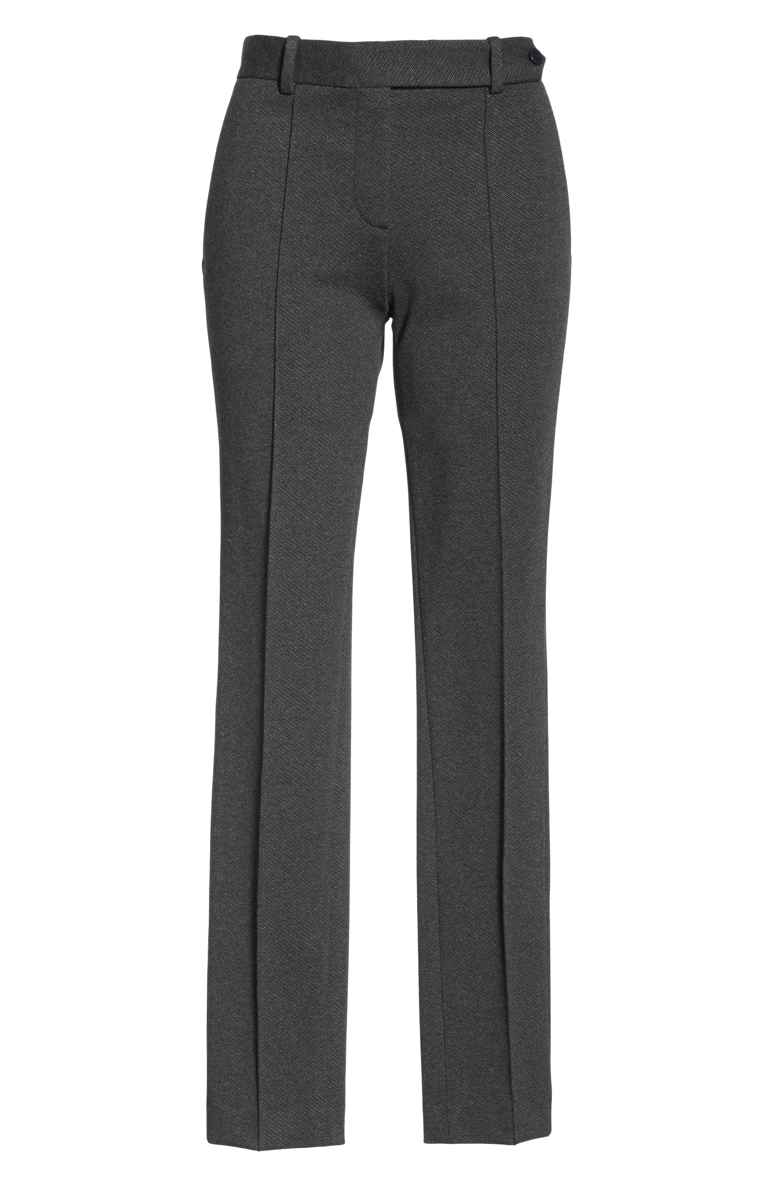 Seamed Front Stretch Twill Pants,                             Alternate thumbnail 6, color,                             BLACK