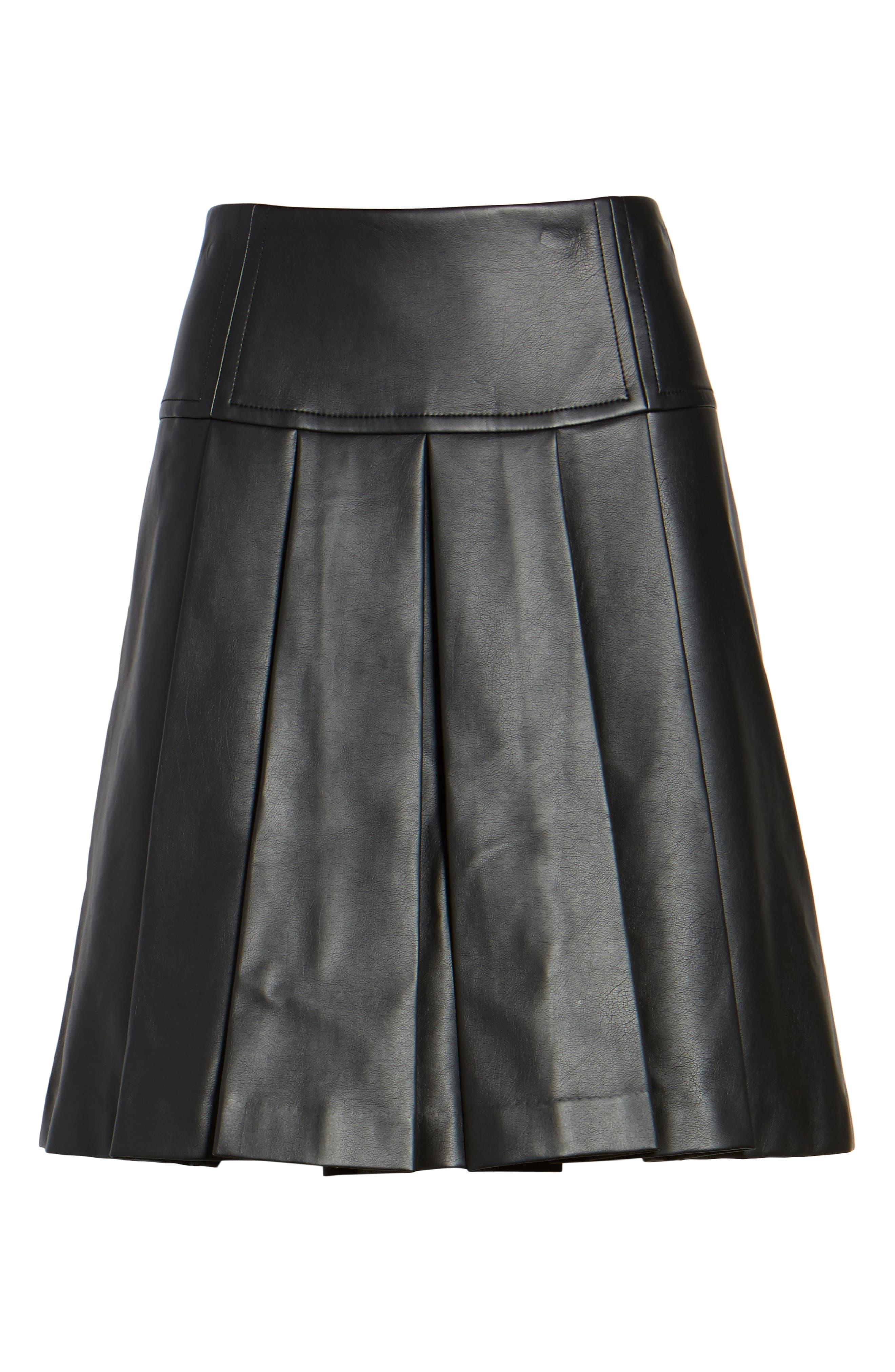 Pleat Faux Leather Skirt,                             Alternate thumbnail 6, color,                             001