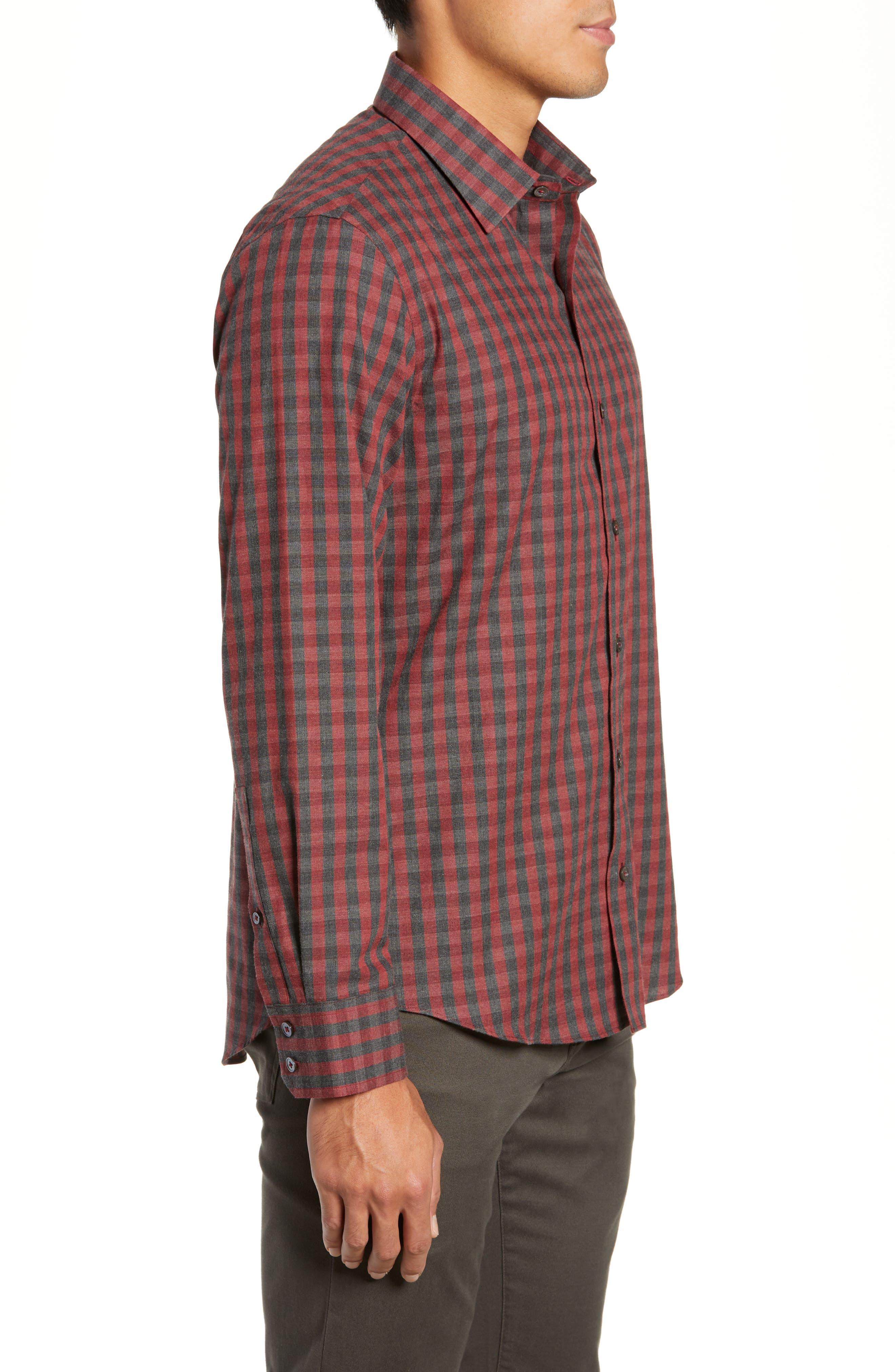 Lieberman Regular Fit Check Sport Shirt,                             Alternate thumbnail 4, color,                             RED