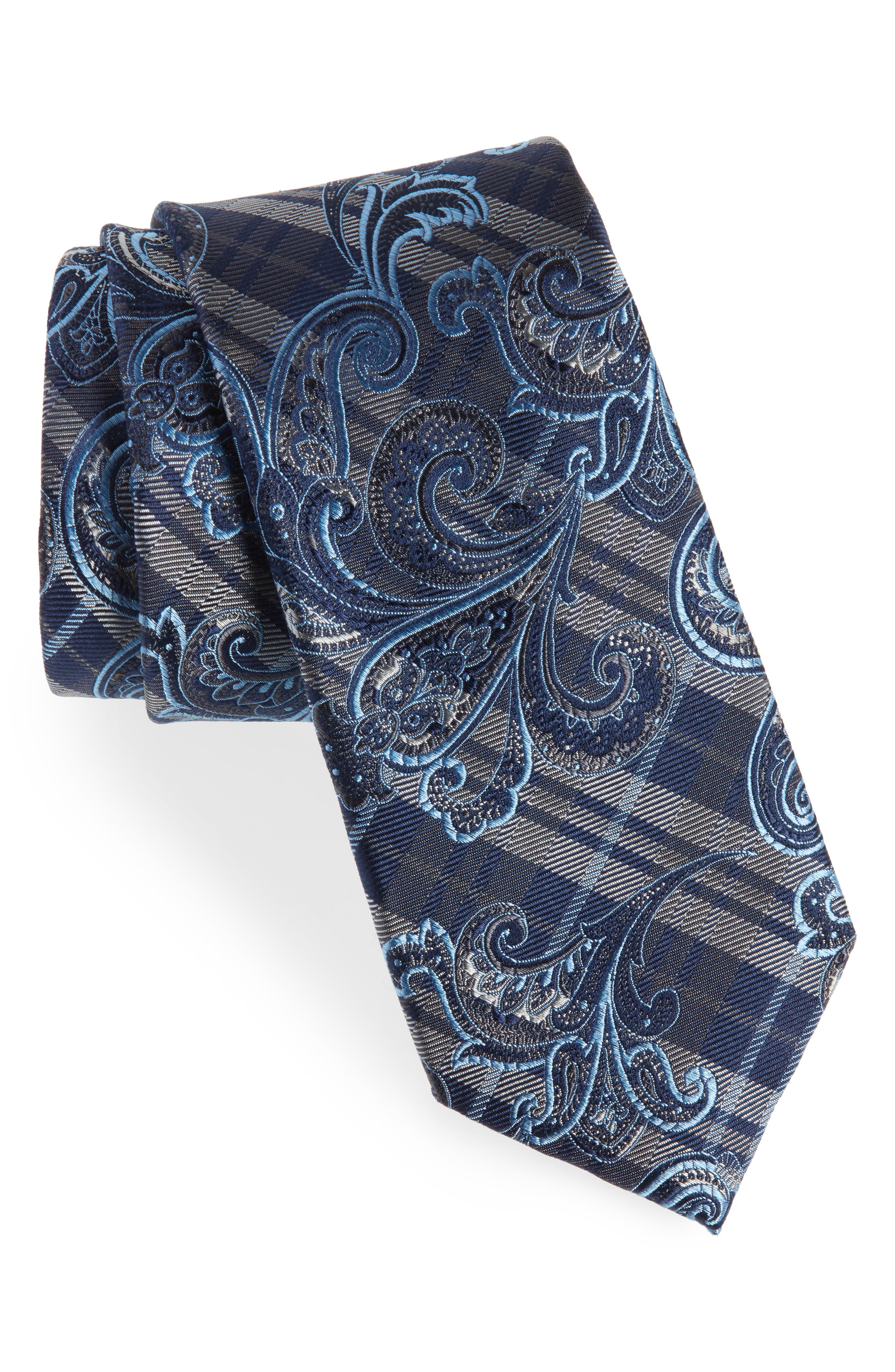 Riscal Plaid Silk Tie,                             Main thumbnail 1, color,                             CHARCOAL