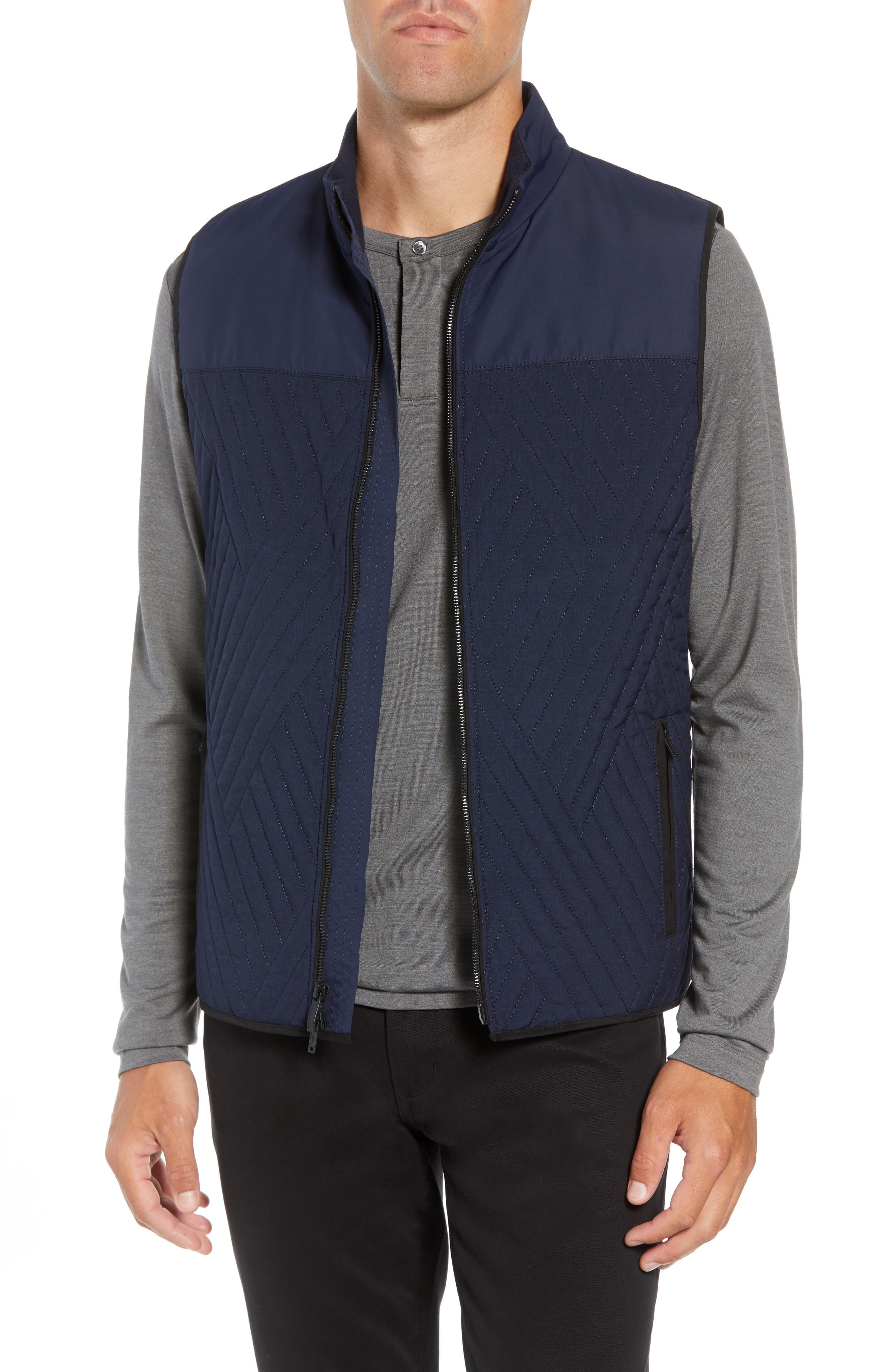 Slim Fit Quilted Vest,                         Main,                         color, NAVY