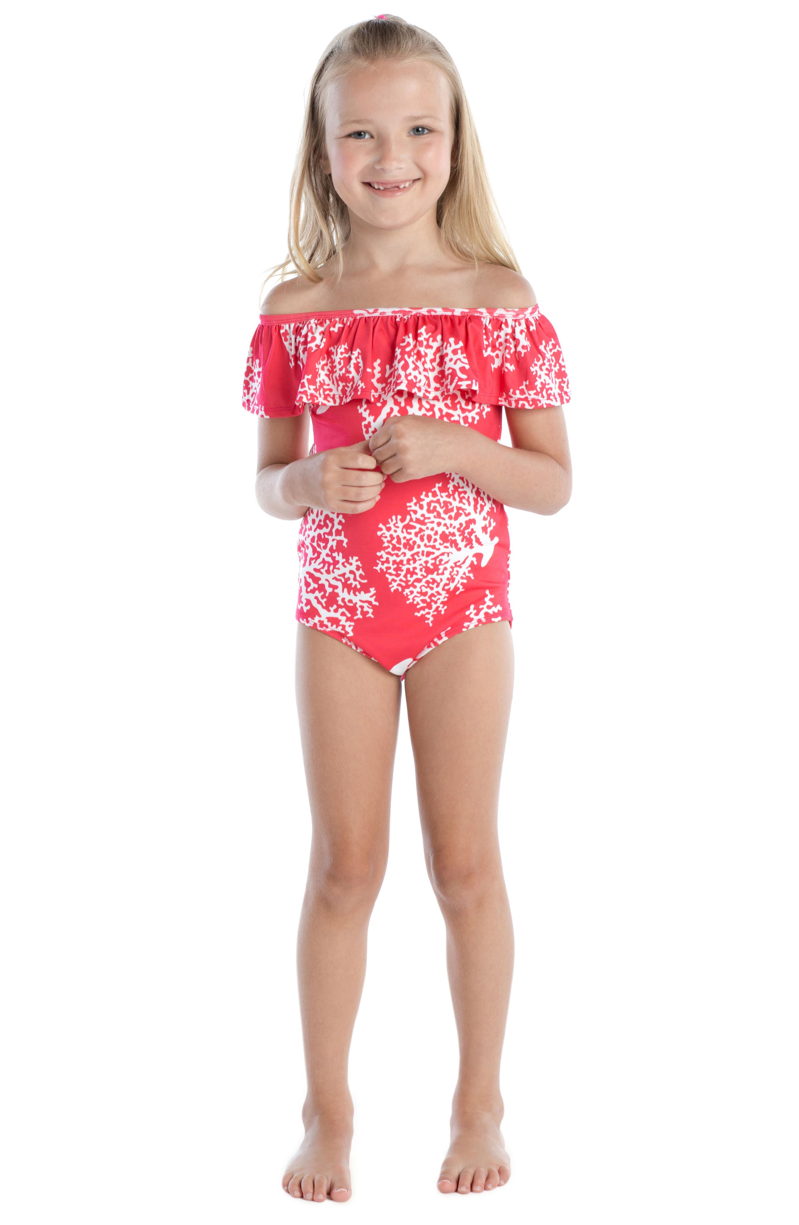 Coral Print One-Piece Swimsuit,                             Alternate thumbnail 2, color,                             600