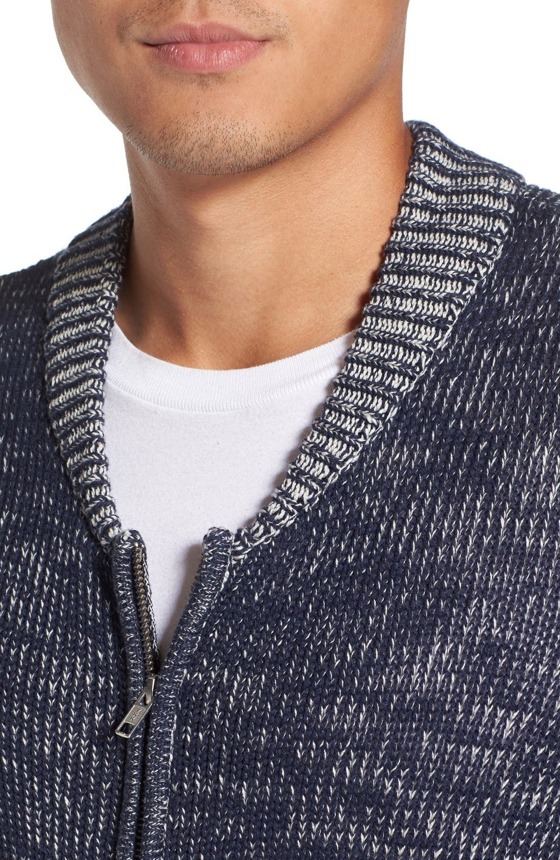 Two-Way Zip Mélange Sweater,                             Alternate thumbnail 4, color,                             410