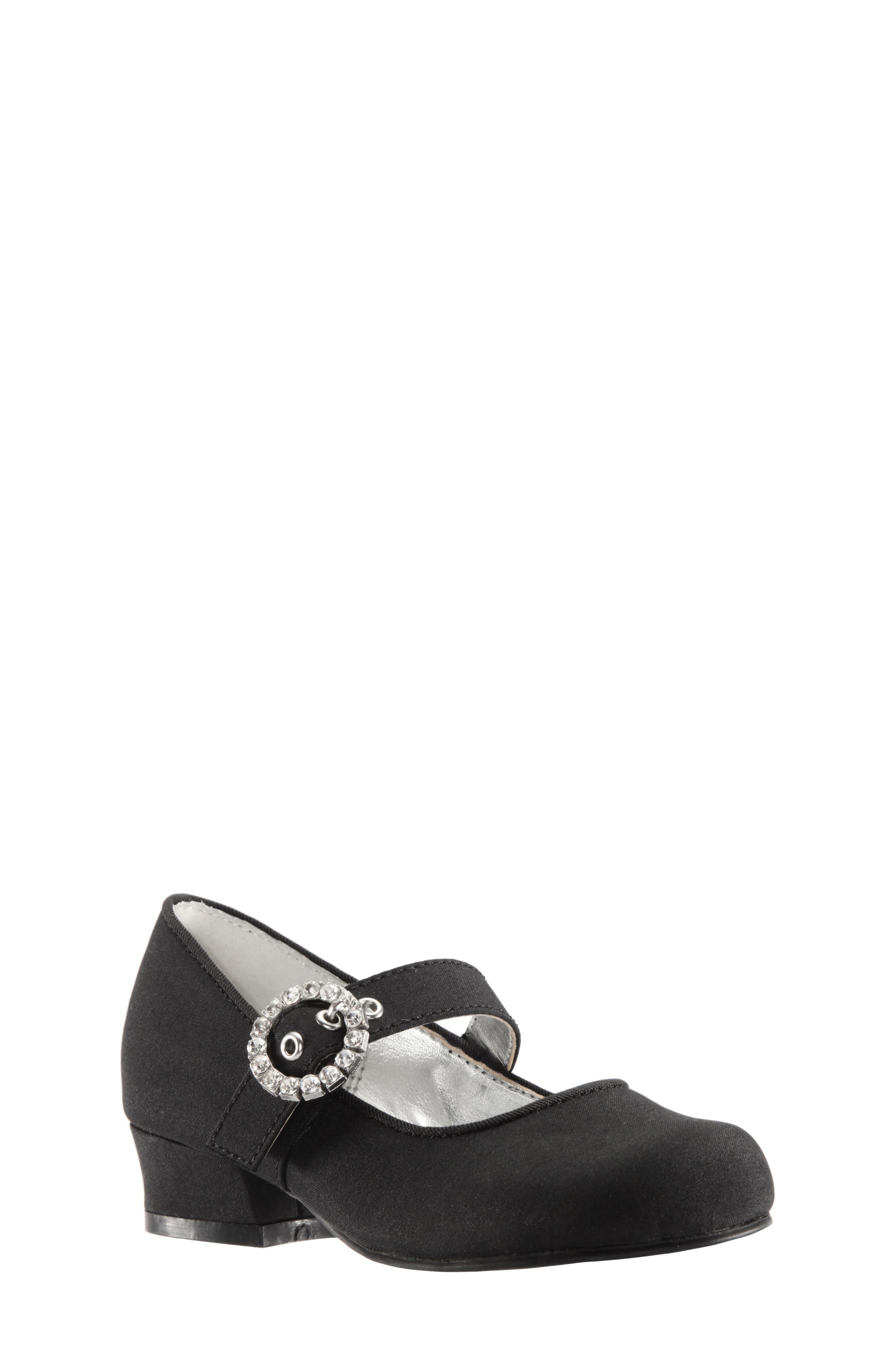 Dulce Block Heel Mary Jane,                         Main,                         color, BLACK LUSTER SATIN
