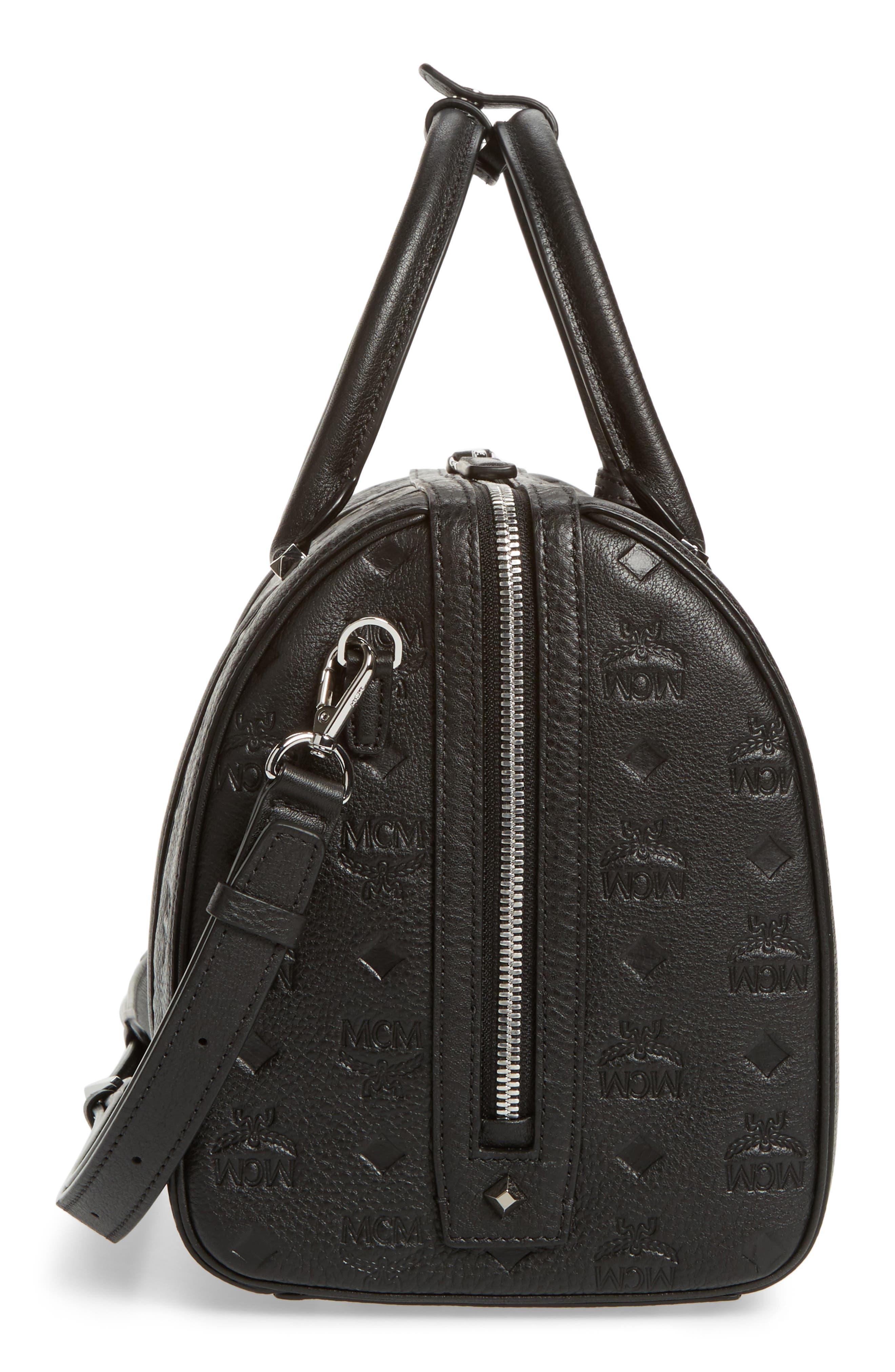 Signature Monogram Embossed Leather Crossbody Bag,                             Alternate thumbnail 5, color,                             001