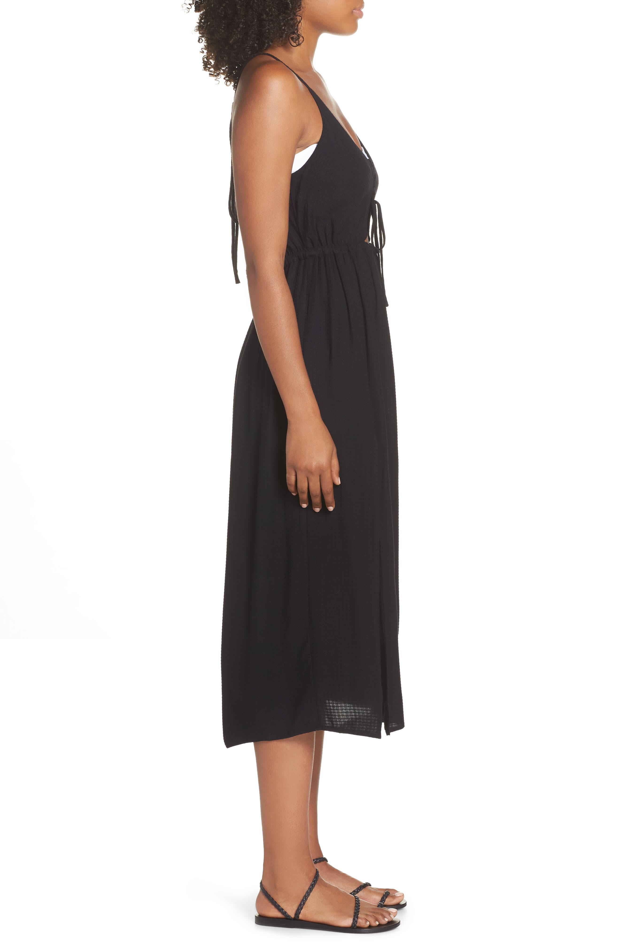 Cory Open Back Cover-Up Midi Dress,                             Alternate thumbnail 3, color,                             BLACK